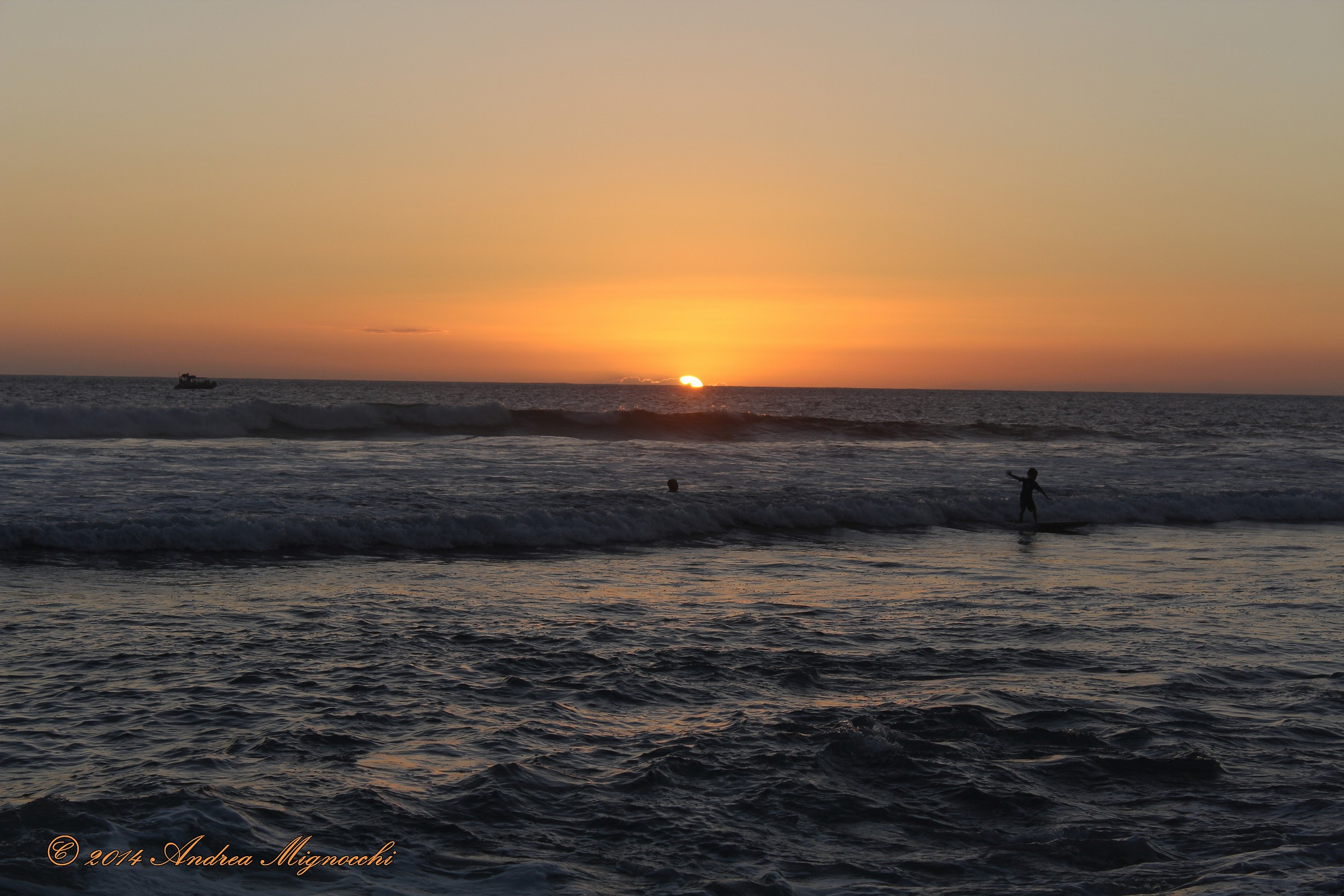 Surfing at sunset...