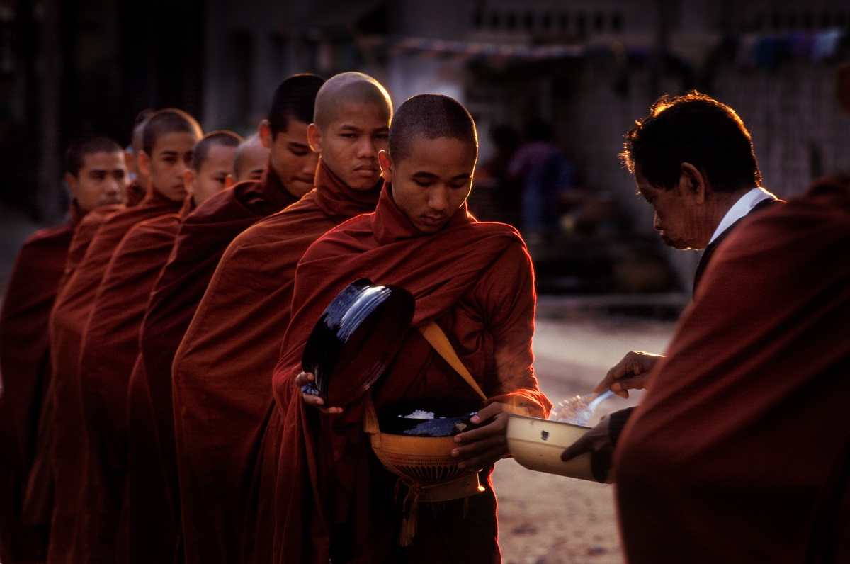Mandalay - The monks' collection of alms...