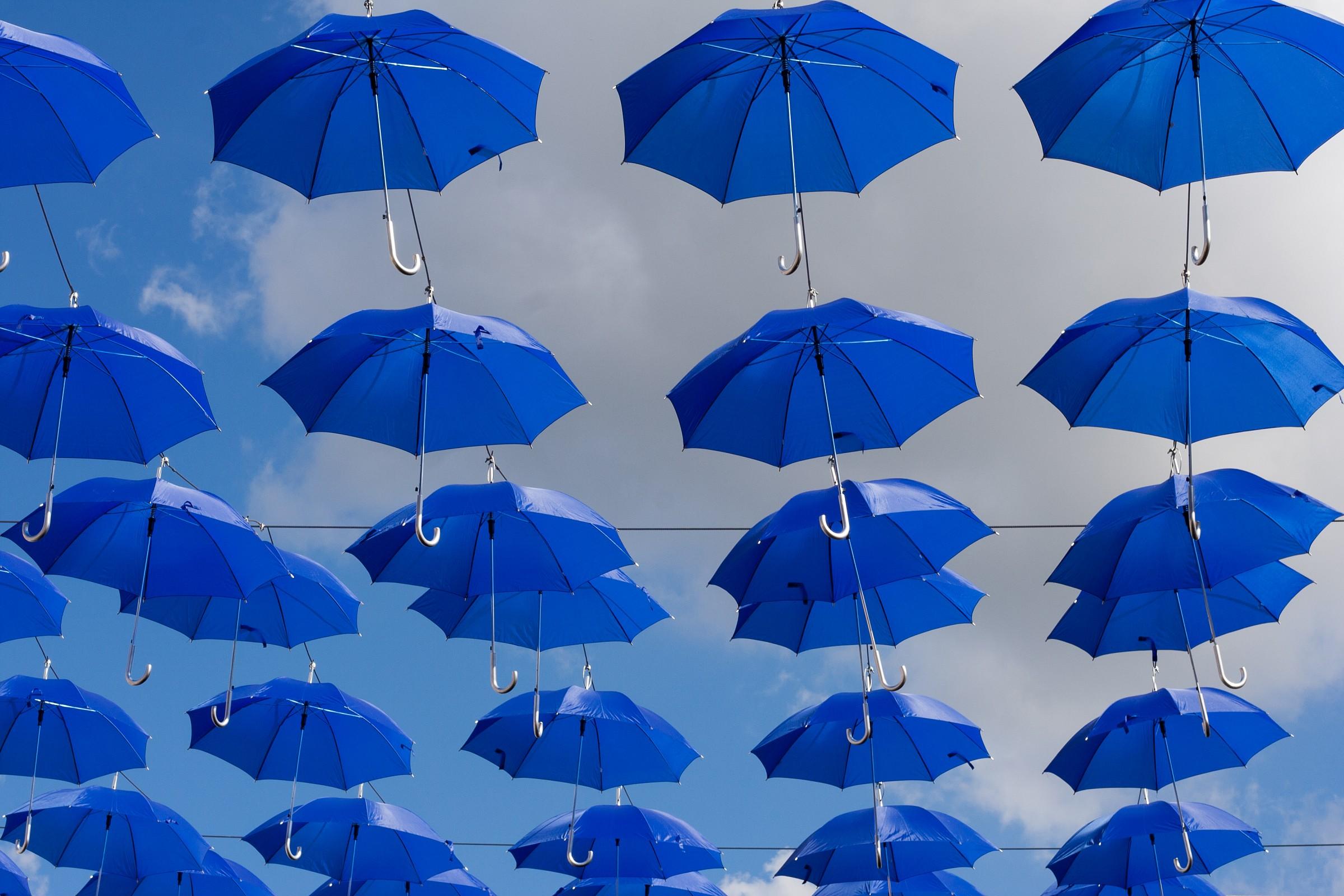 There's raining ... umbrellas...