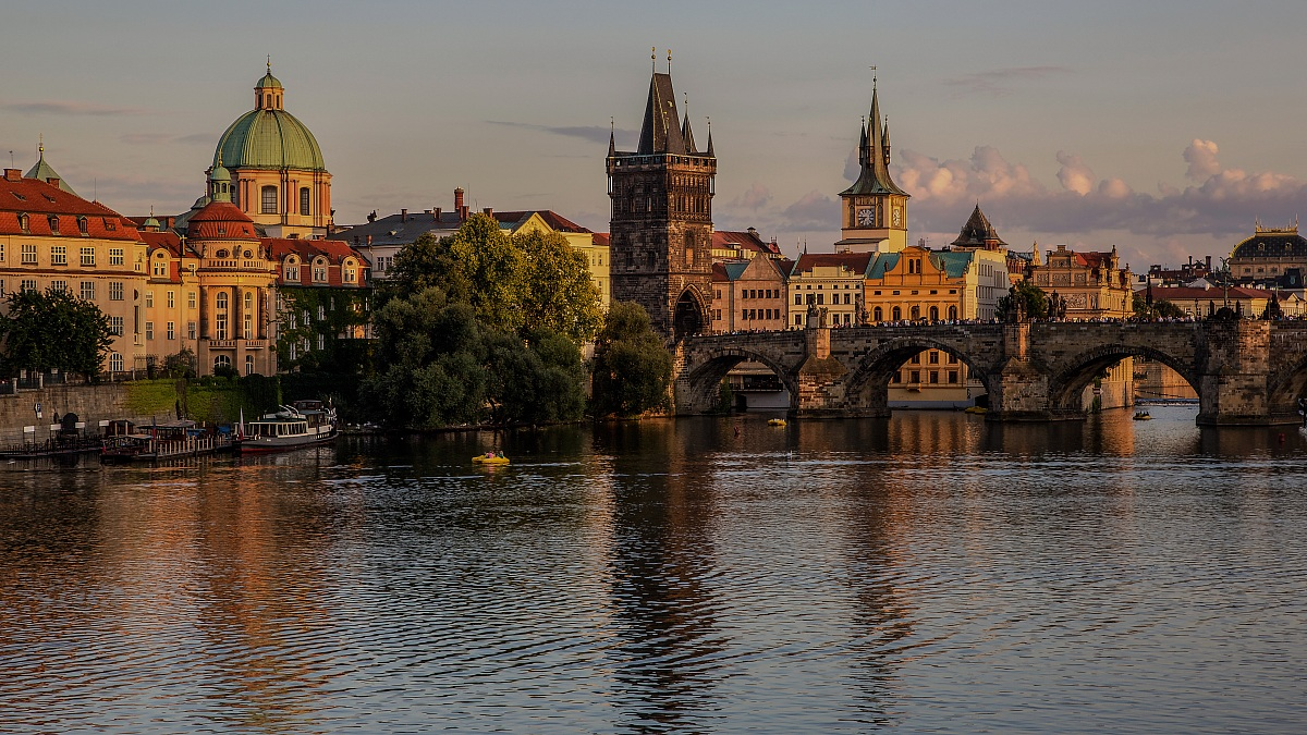 The last rays of sun on the city of Prague...