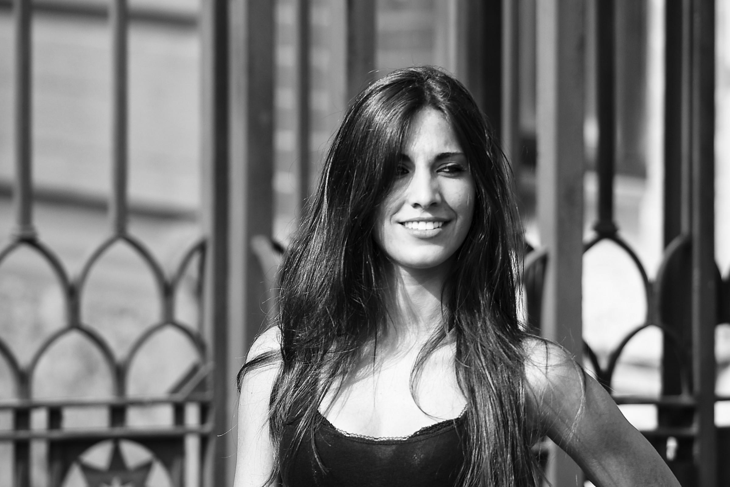 Model smiling...