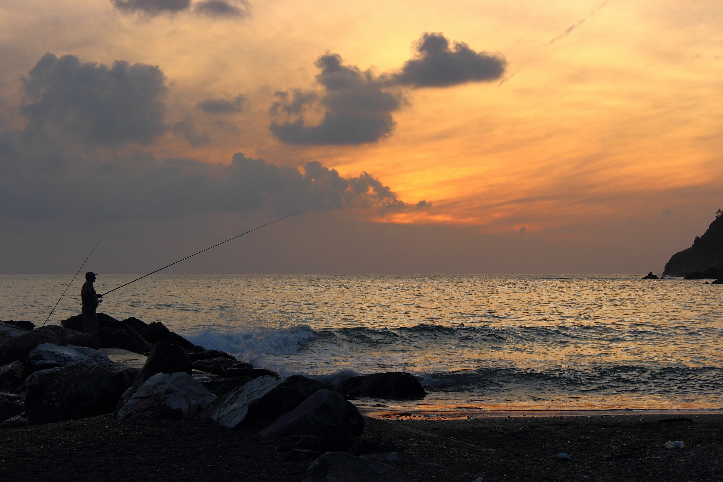 Fishing at sunset in Levanto...