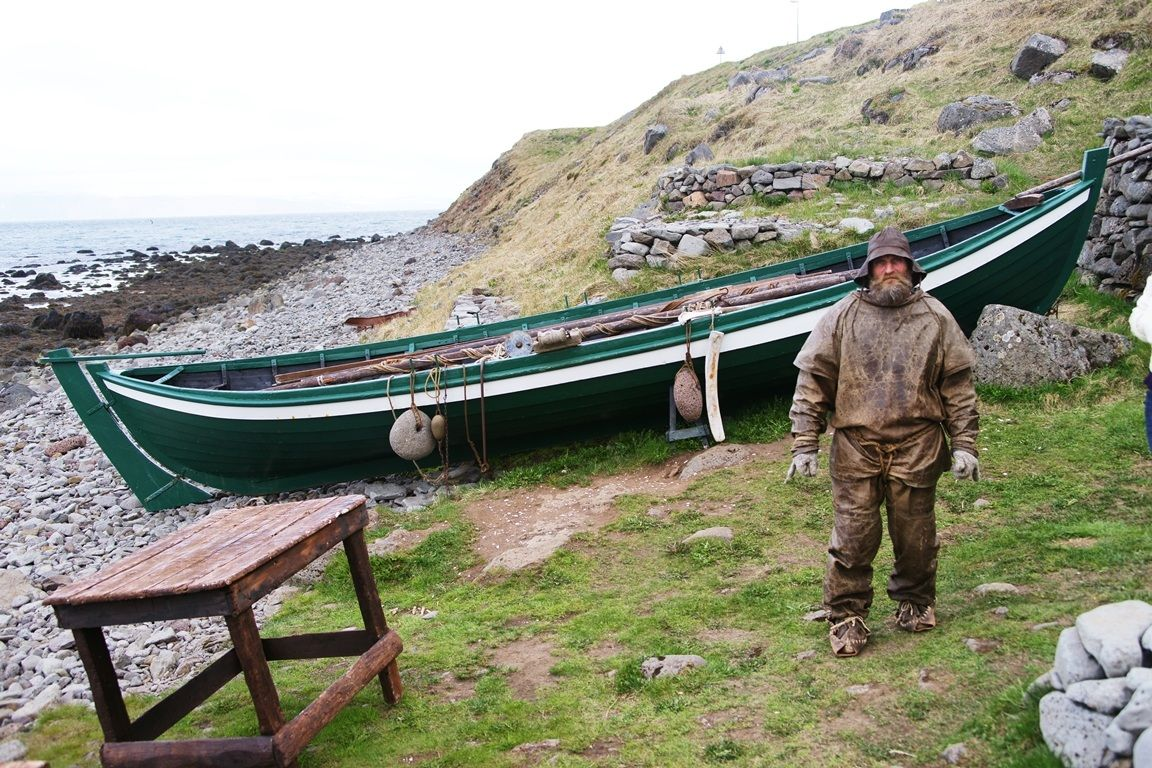 Icelandic fishermen in traditional costume...