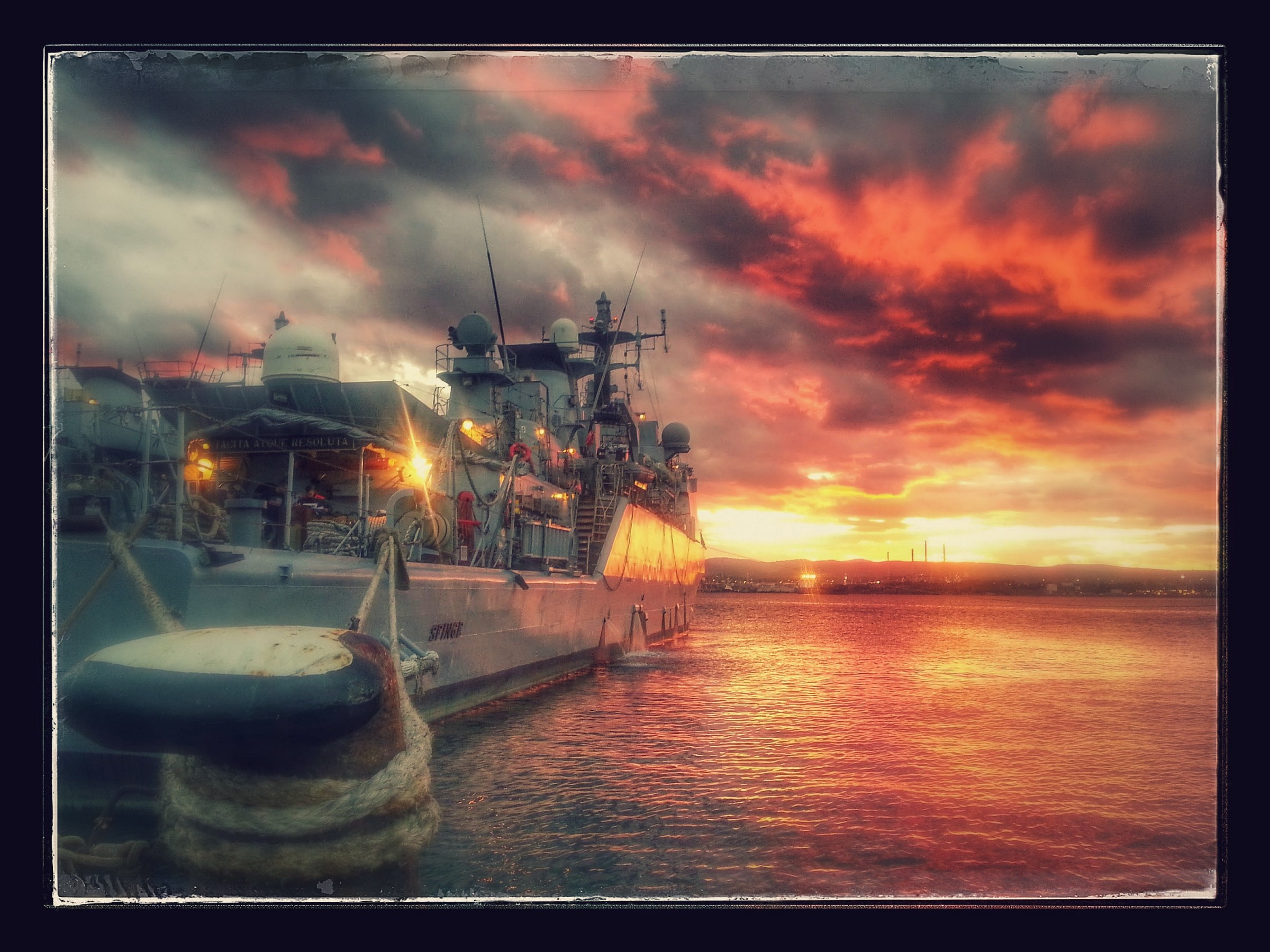 sunset on the dock Destroyer...