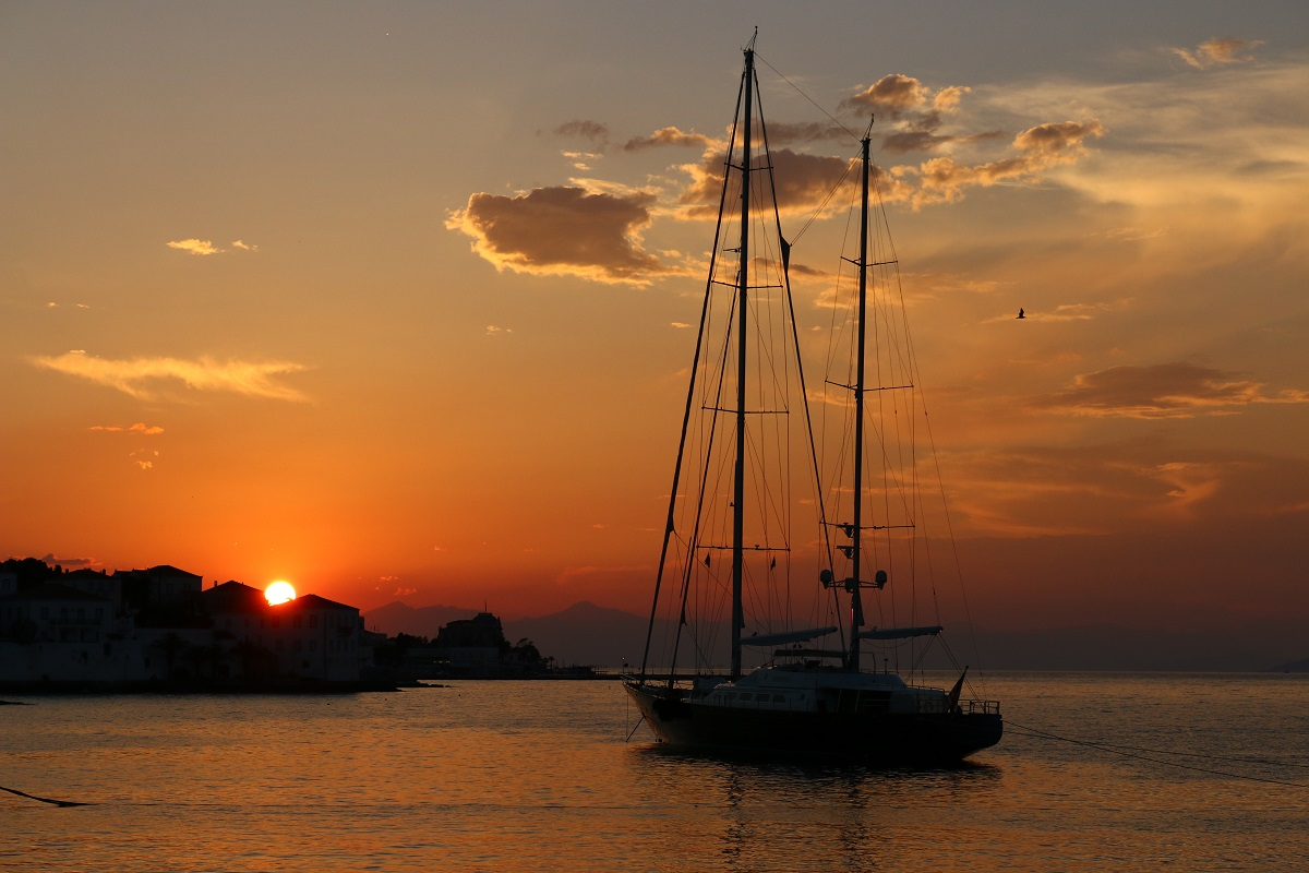 sunset from the old port of spetses...