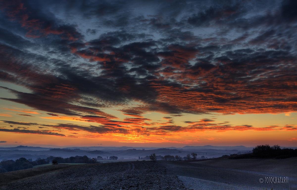 L'alba in Val d'Orcia...