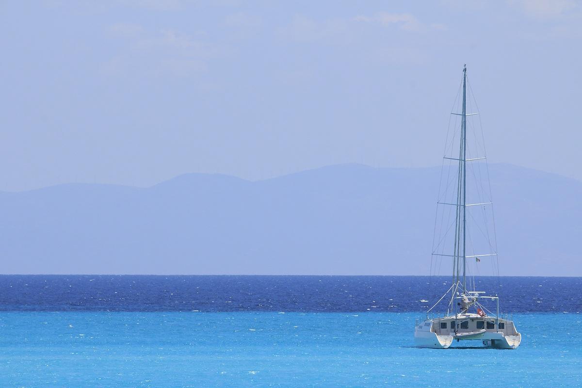 Sailing catamaran...