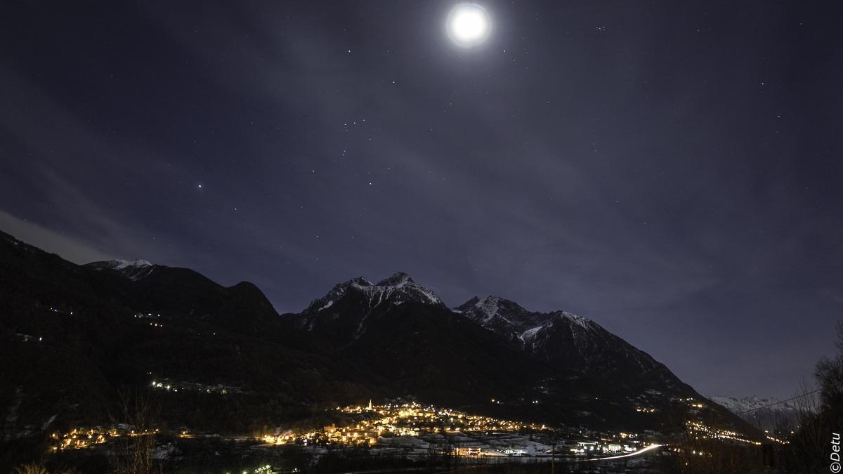 Night view Saint Marcel (Aosta Valley)...