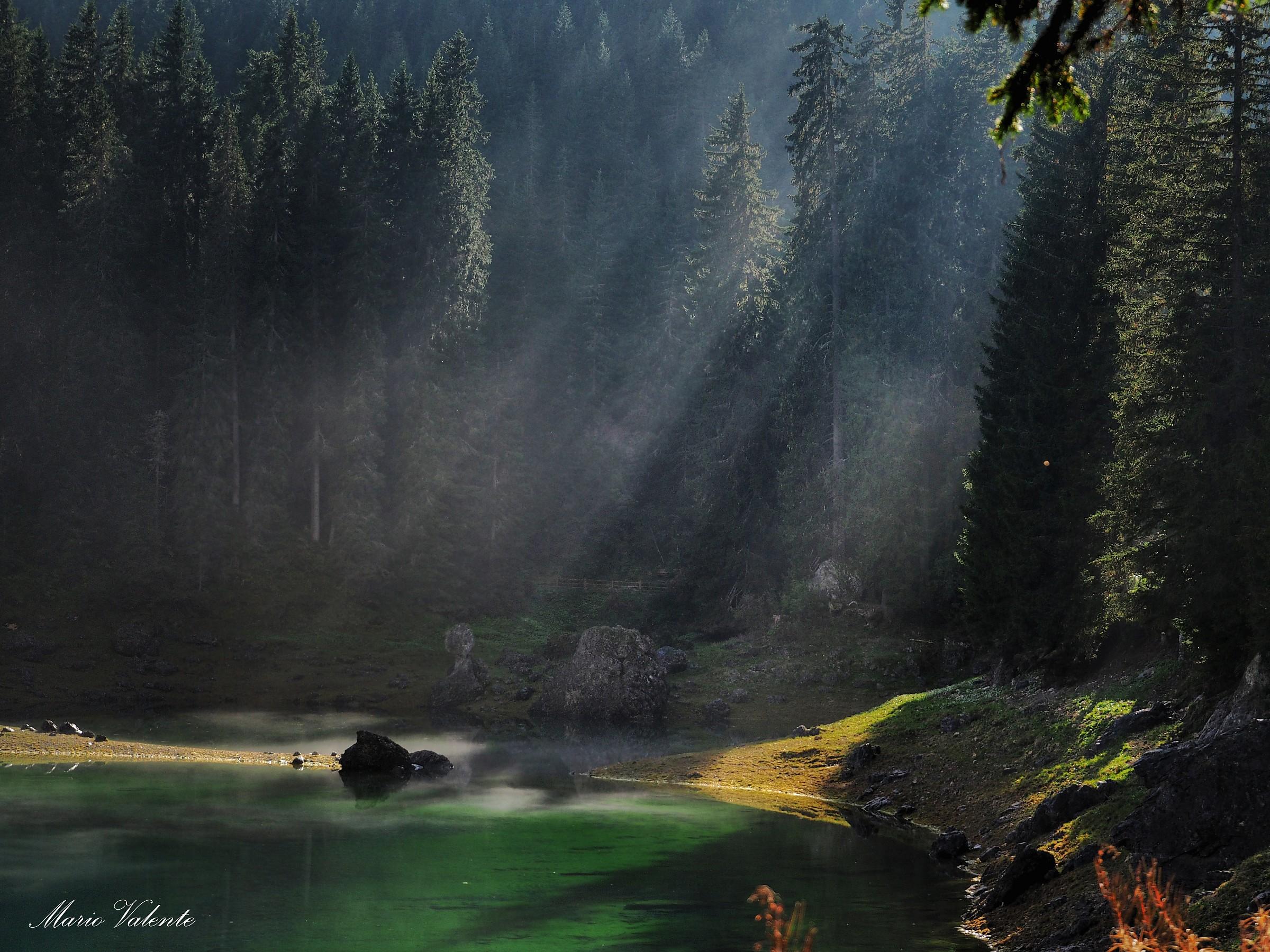 Raggi nella nebbiolina che sale dal lago...