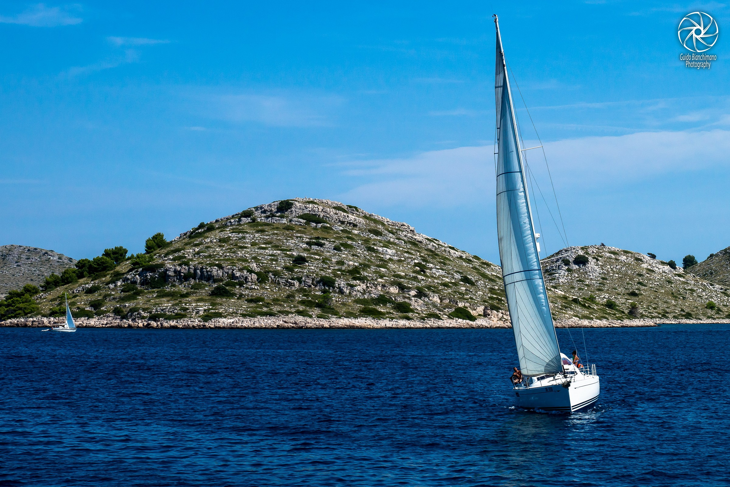 In sailing between the islands Kornati Croatia...
