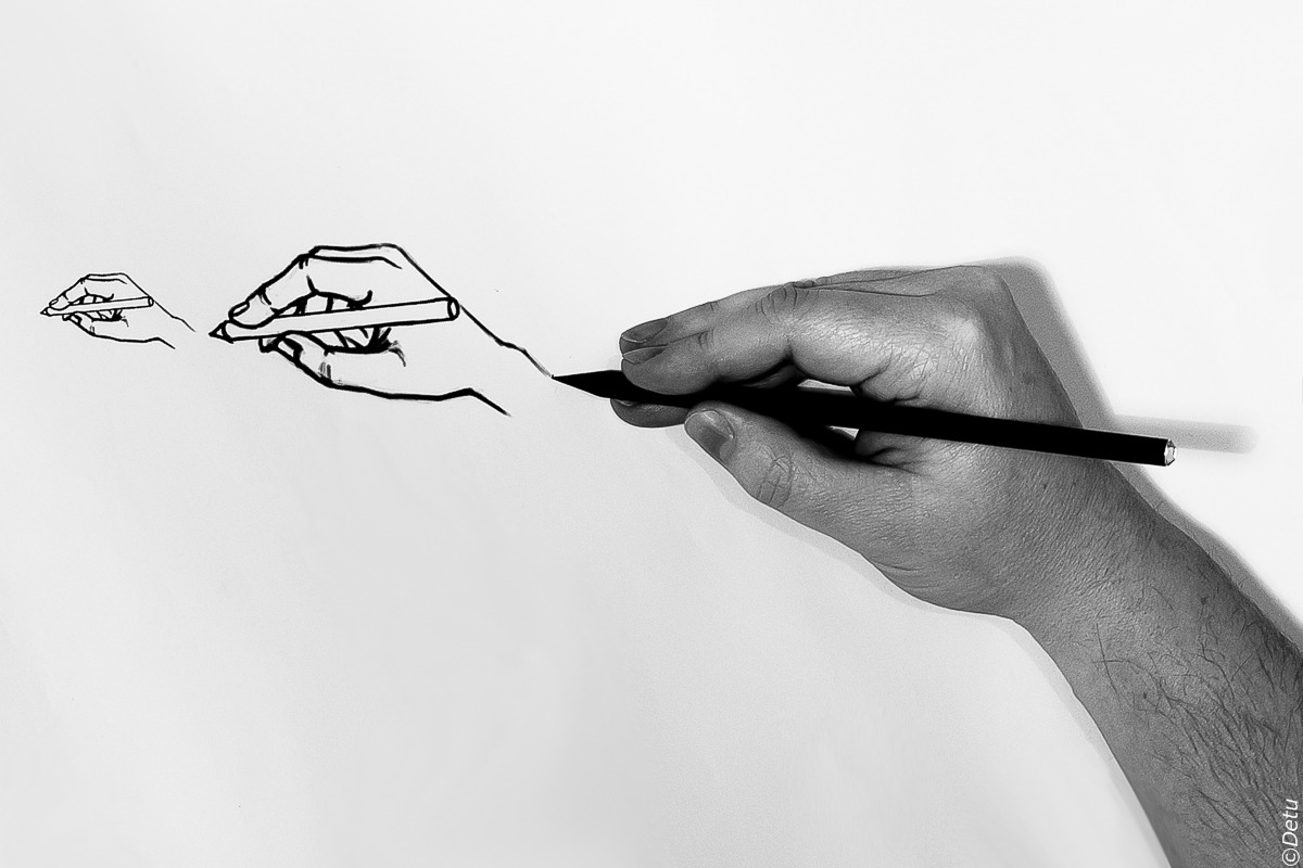 Hand drawing hand drawing hand, ...........