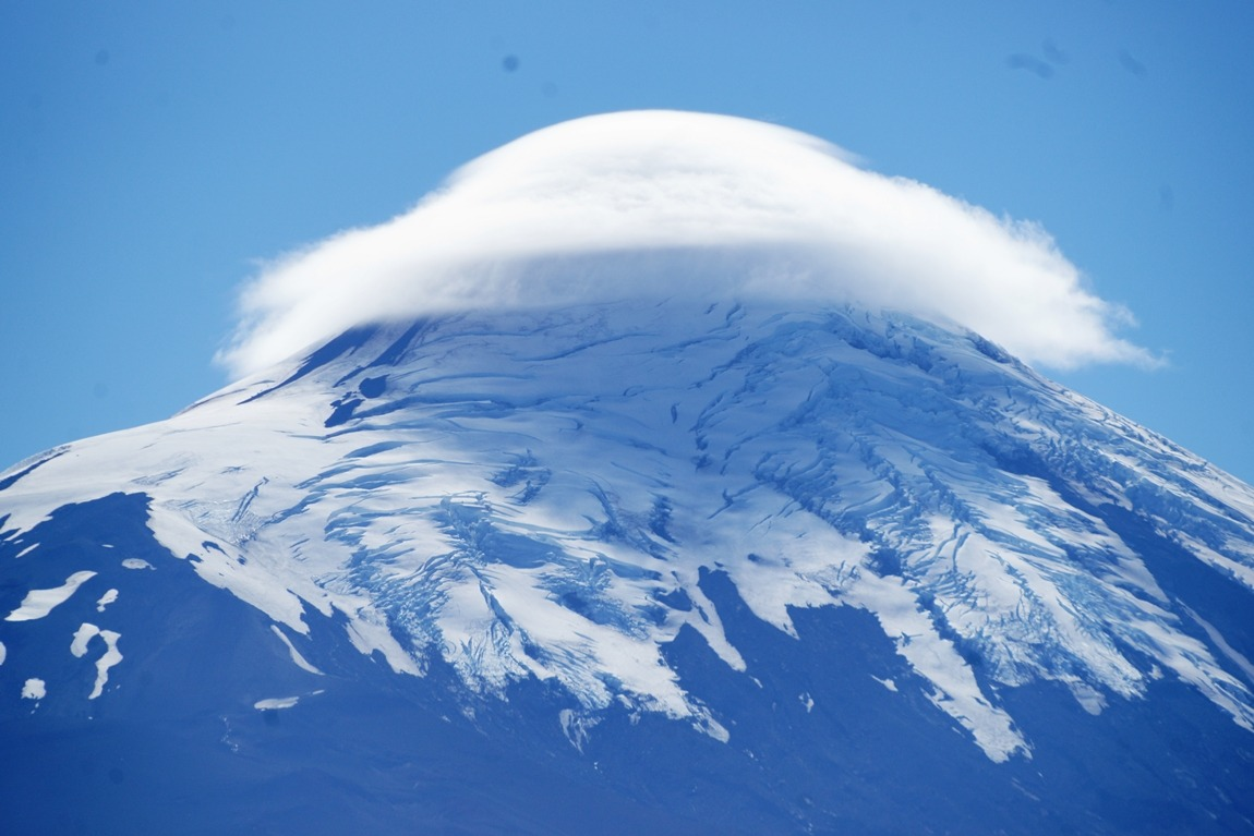 Osorno volcano cloaked in a single cloud...