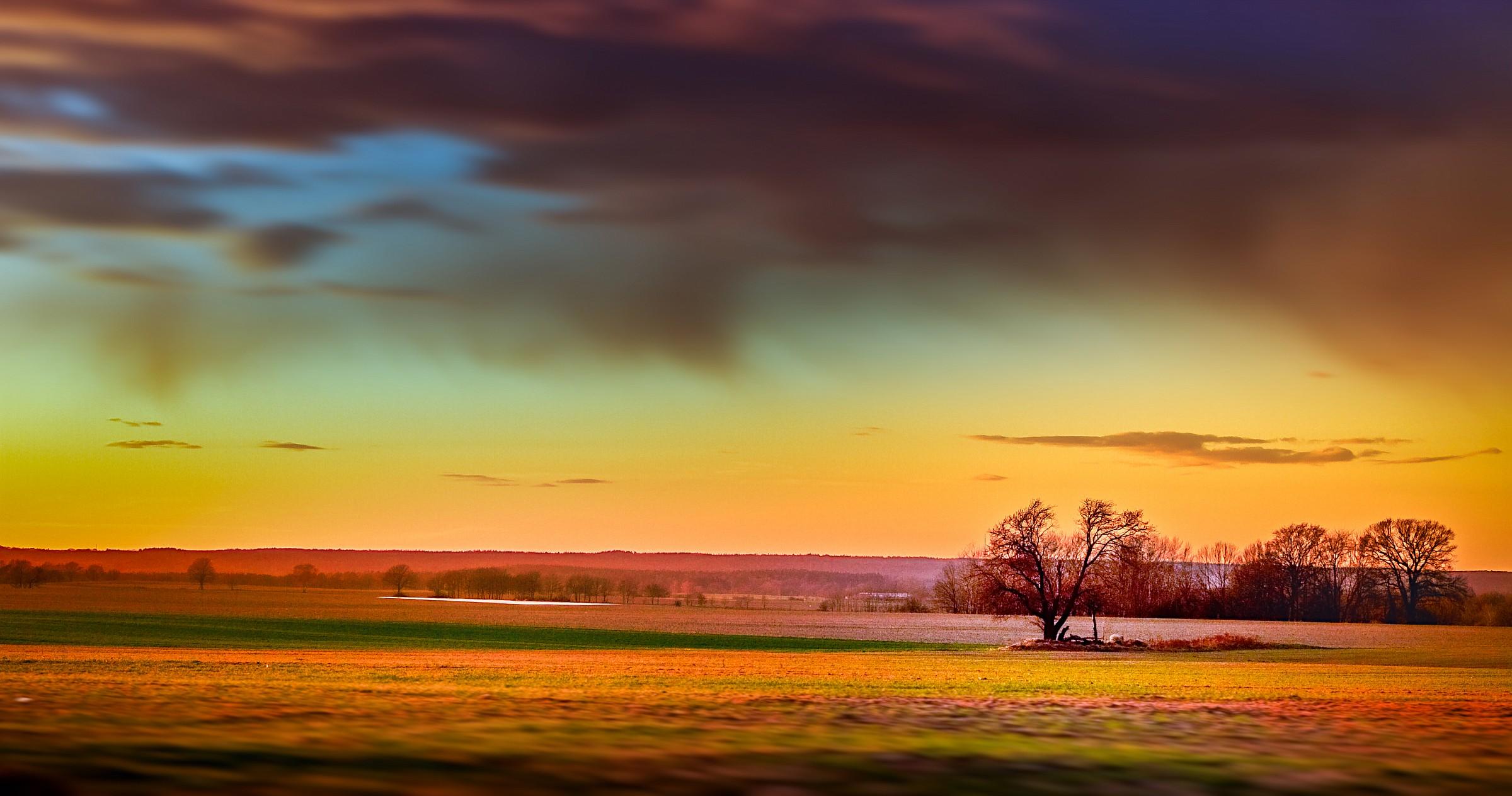 sunset on field...