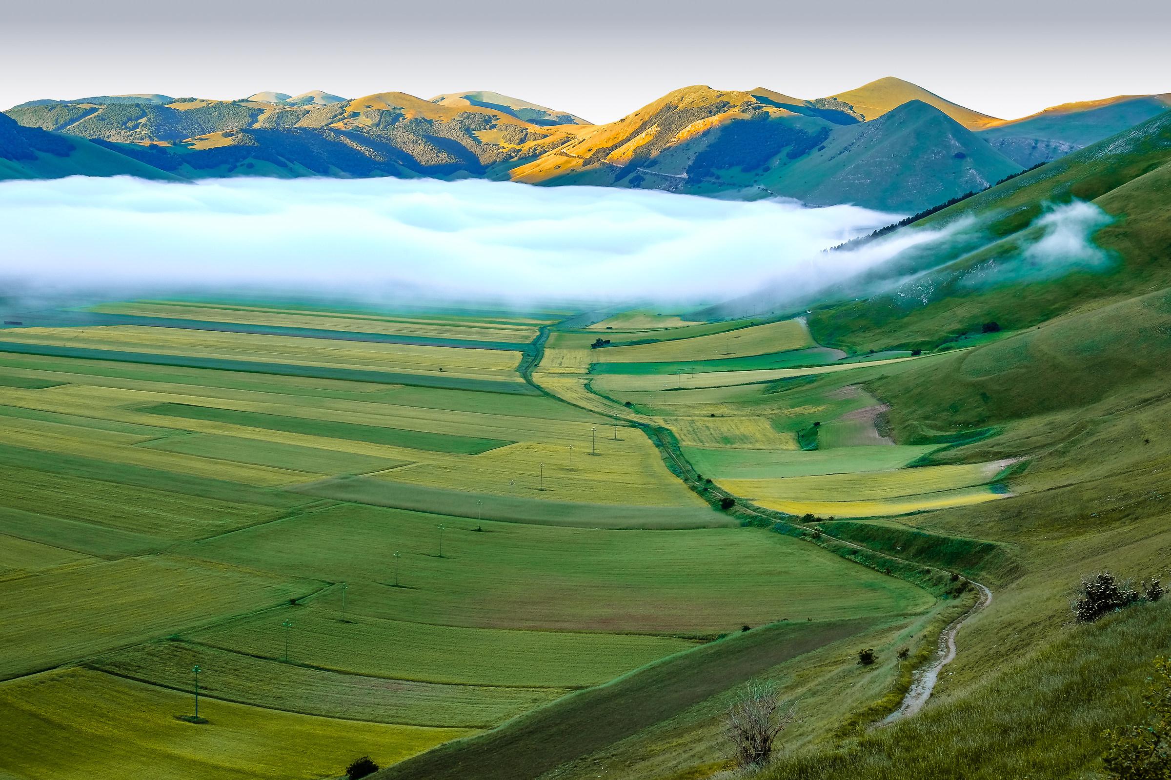 Nebbia sulla piana di Castelluccio...