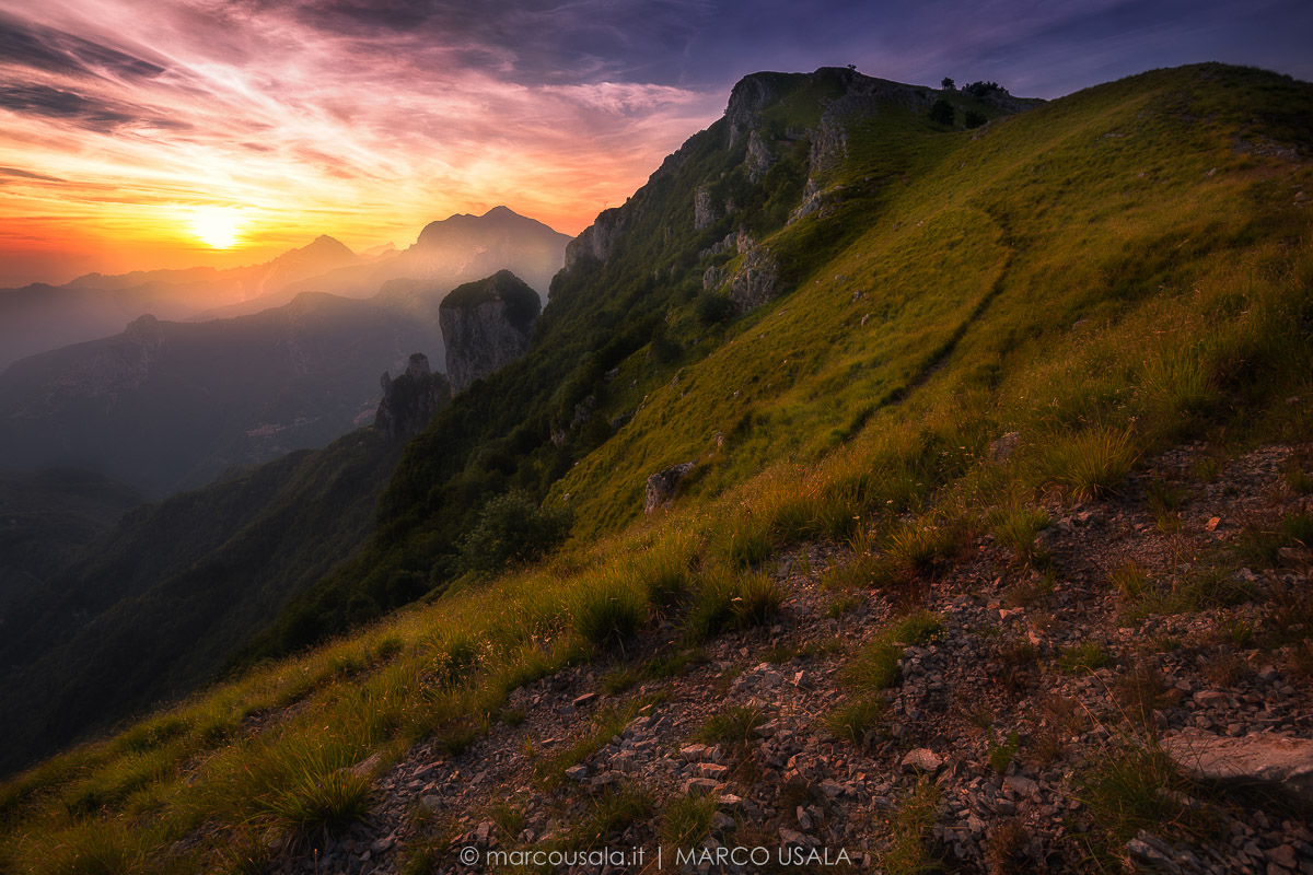 Last light in the Apuan Alps...
