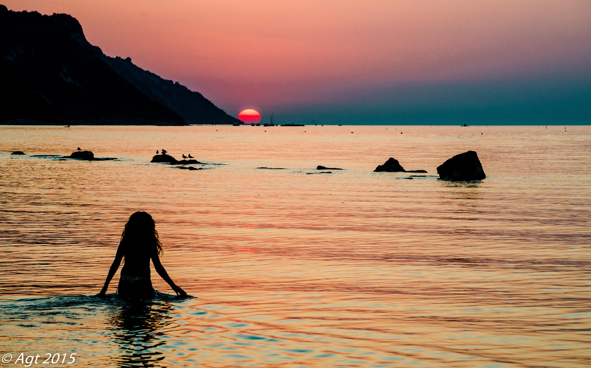 bath at sunset...