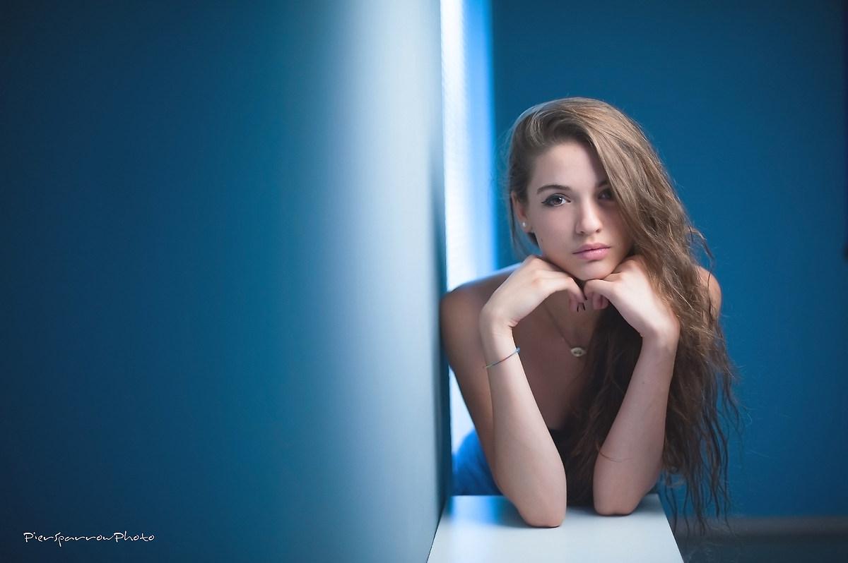In blue........