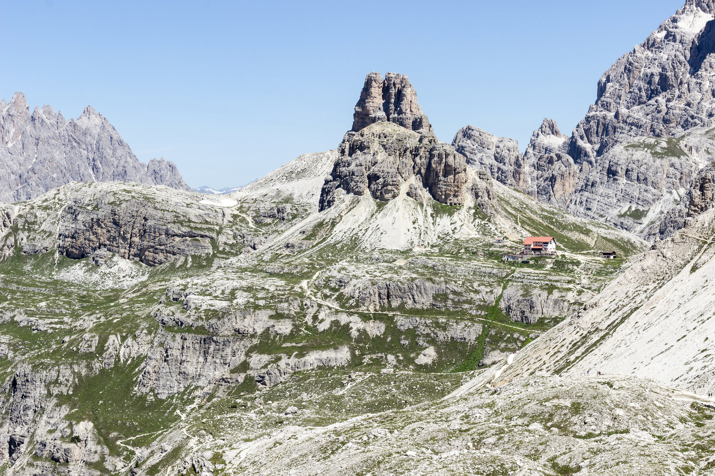 View of the Rif. Locatelli by fork Lavaredo...