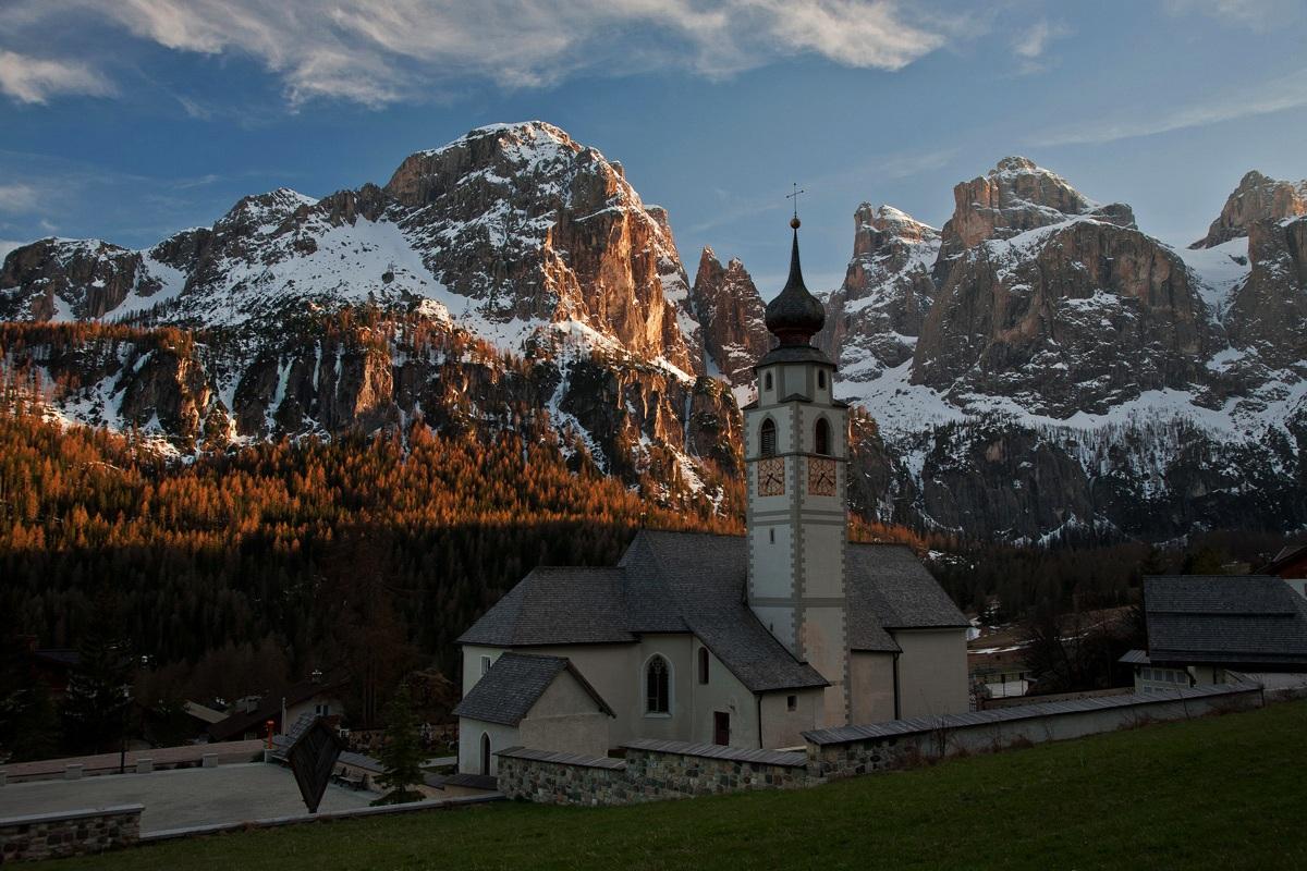 Church of Colfosco and Sella....