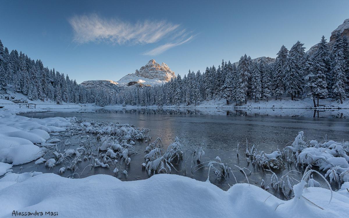 First snowfall to Lake Antorno...
