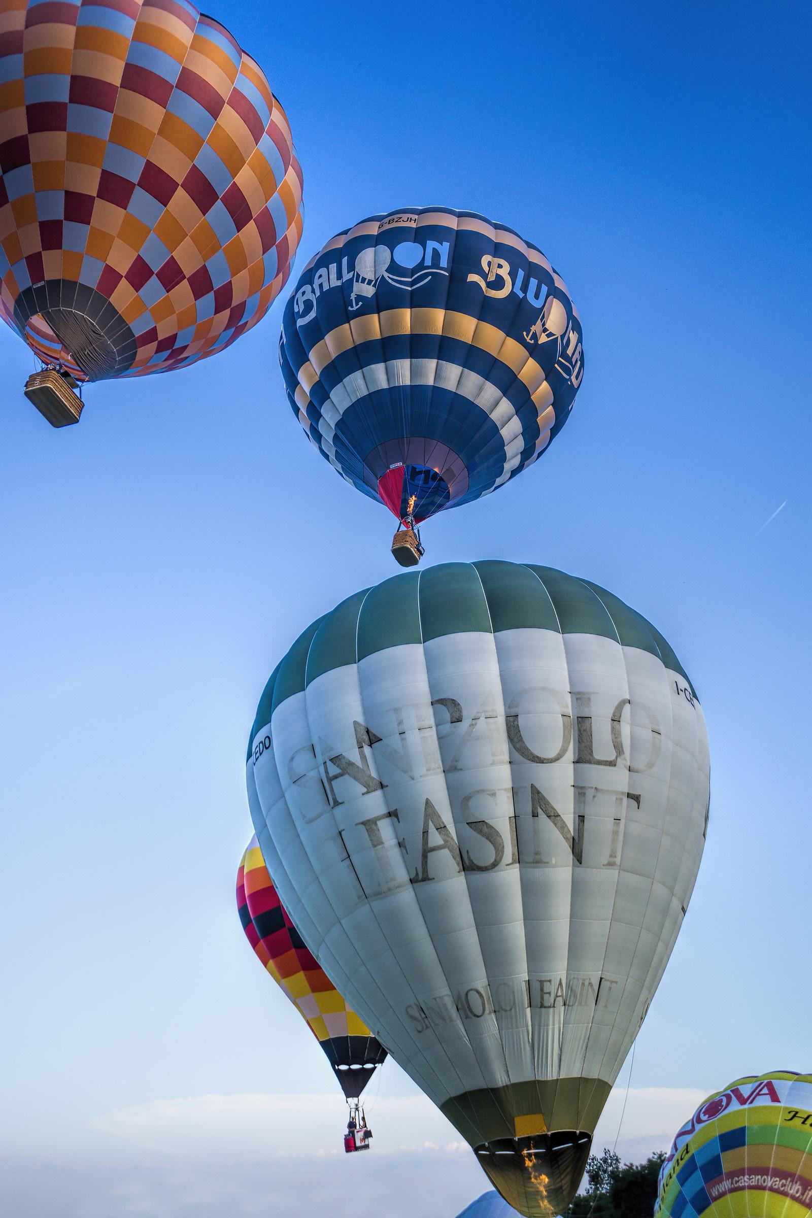 Hot air balloons in flight...