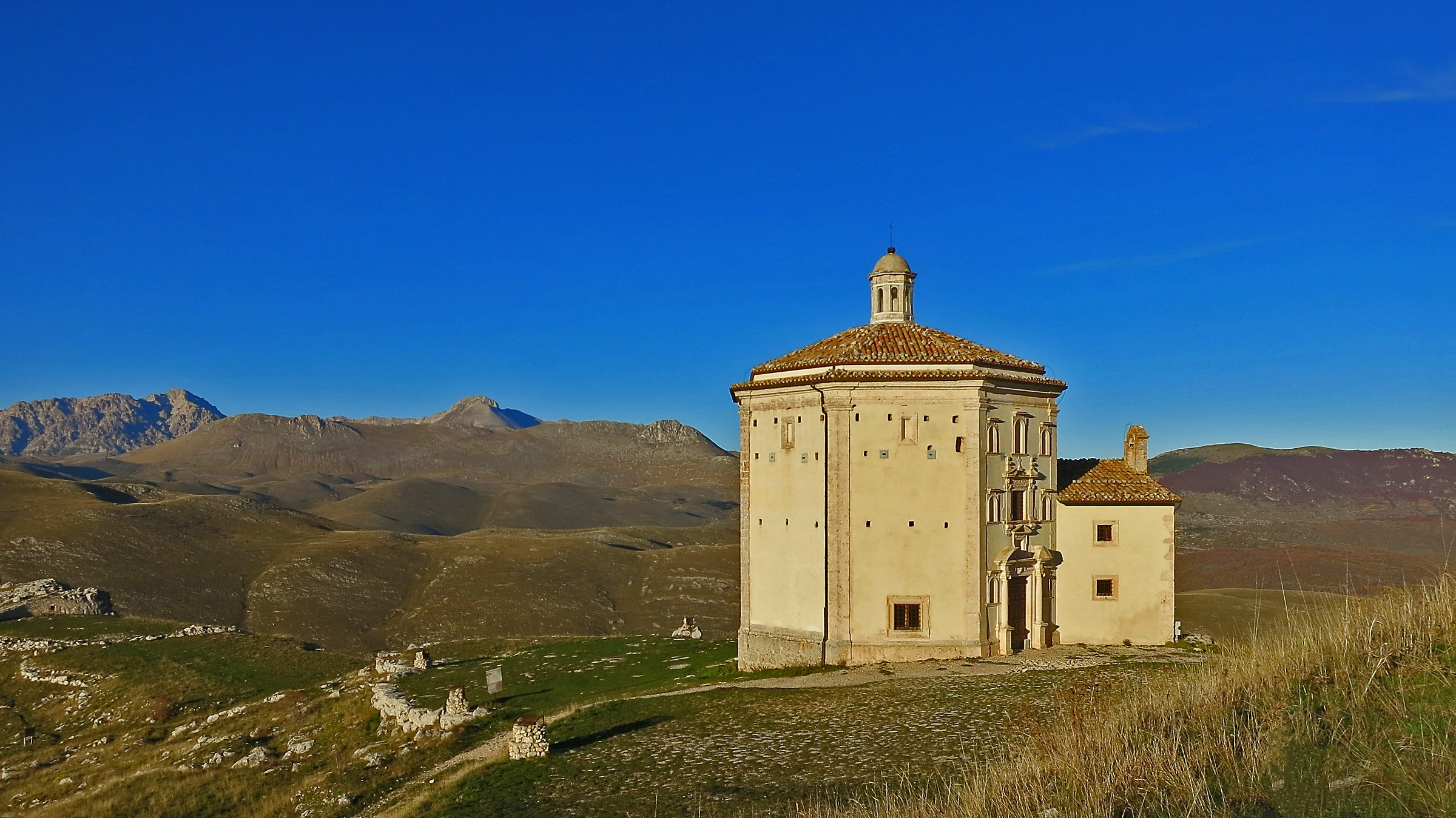 The Church of Santa Maria della Pieta in Rocca Calascio...