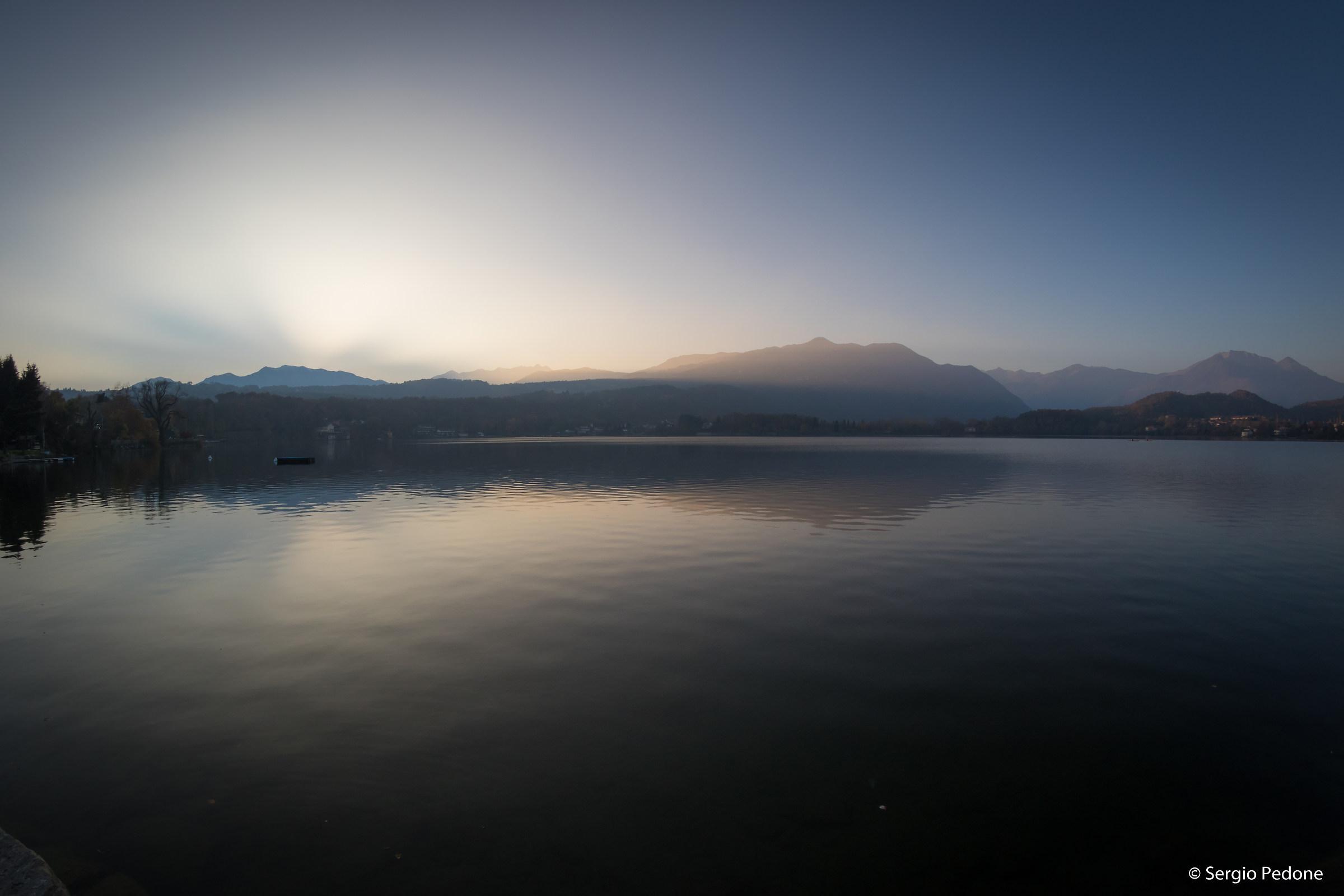 Big lake of Avigliana, after sunset...