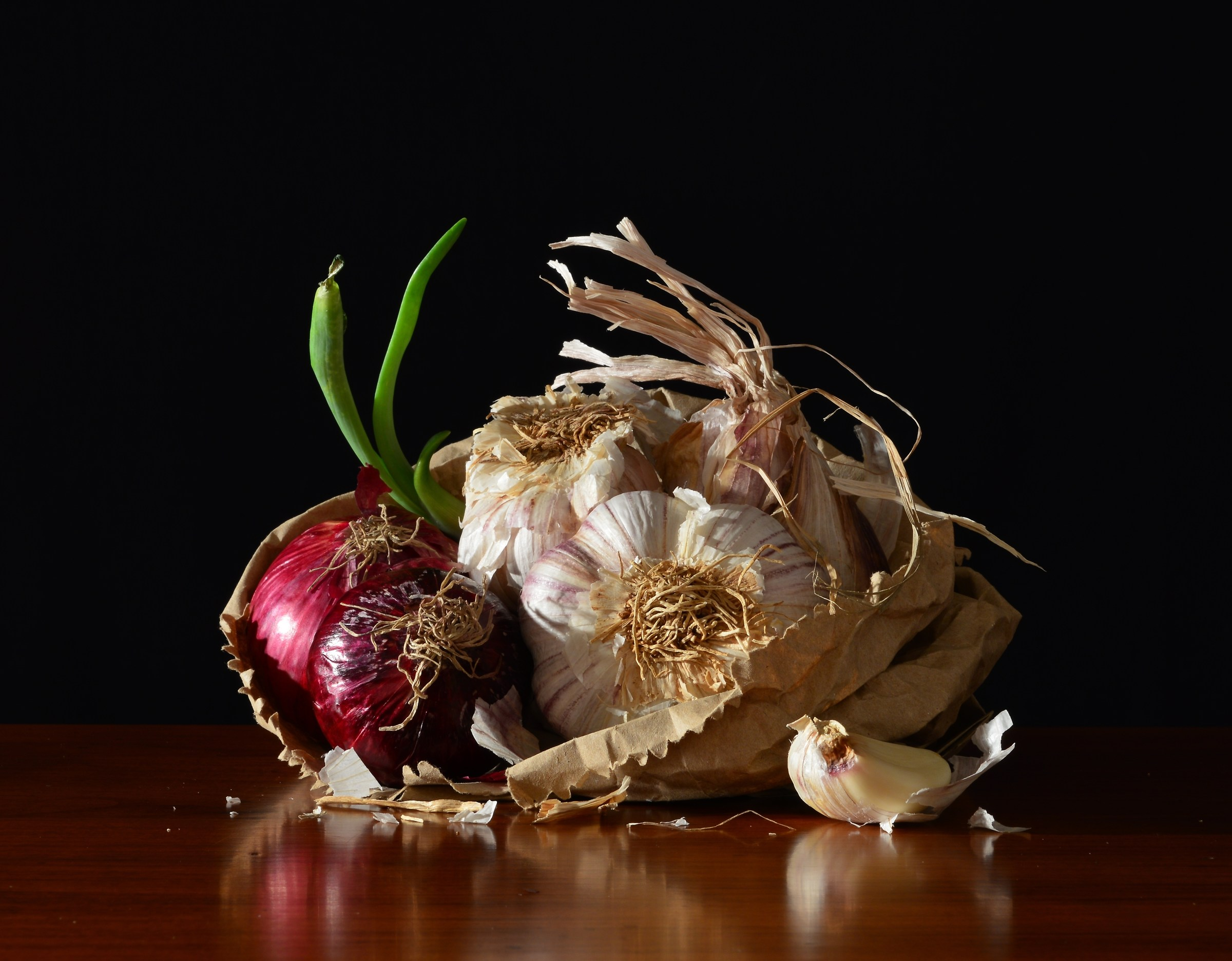 Package with garlic and red onions...