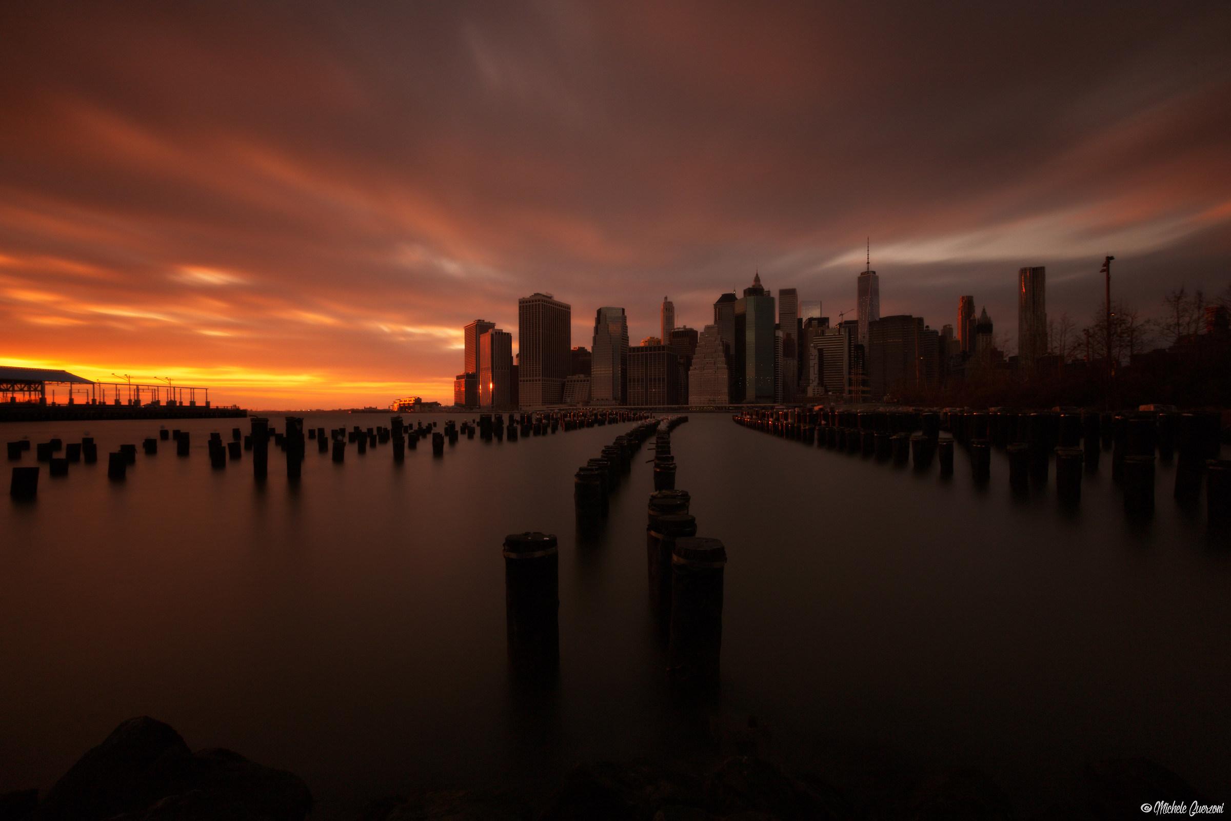 Downtown Manhattan fiery...