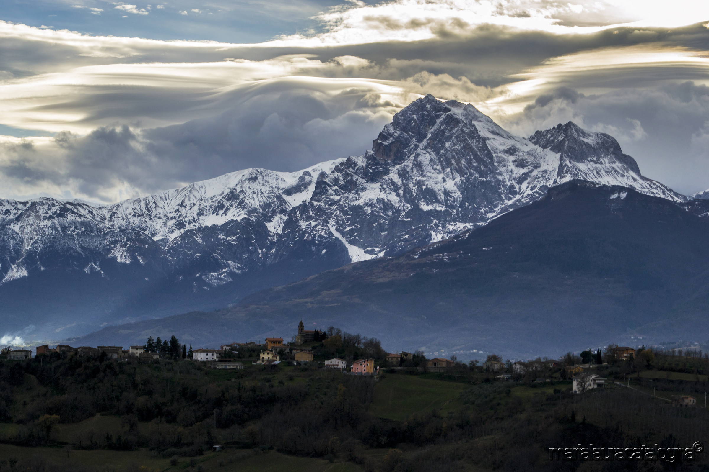 The Gran Sasso and the town of Rapino...