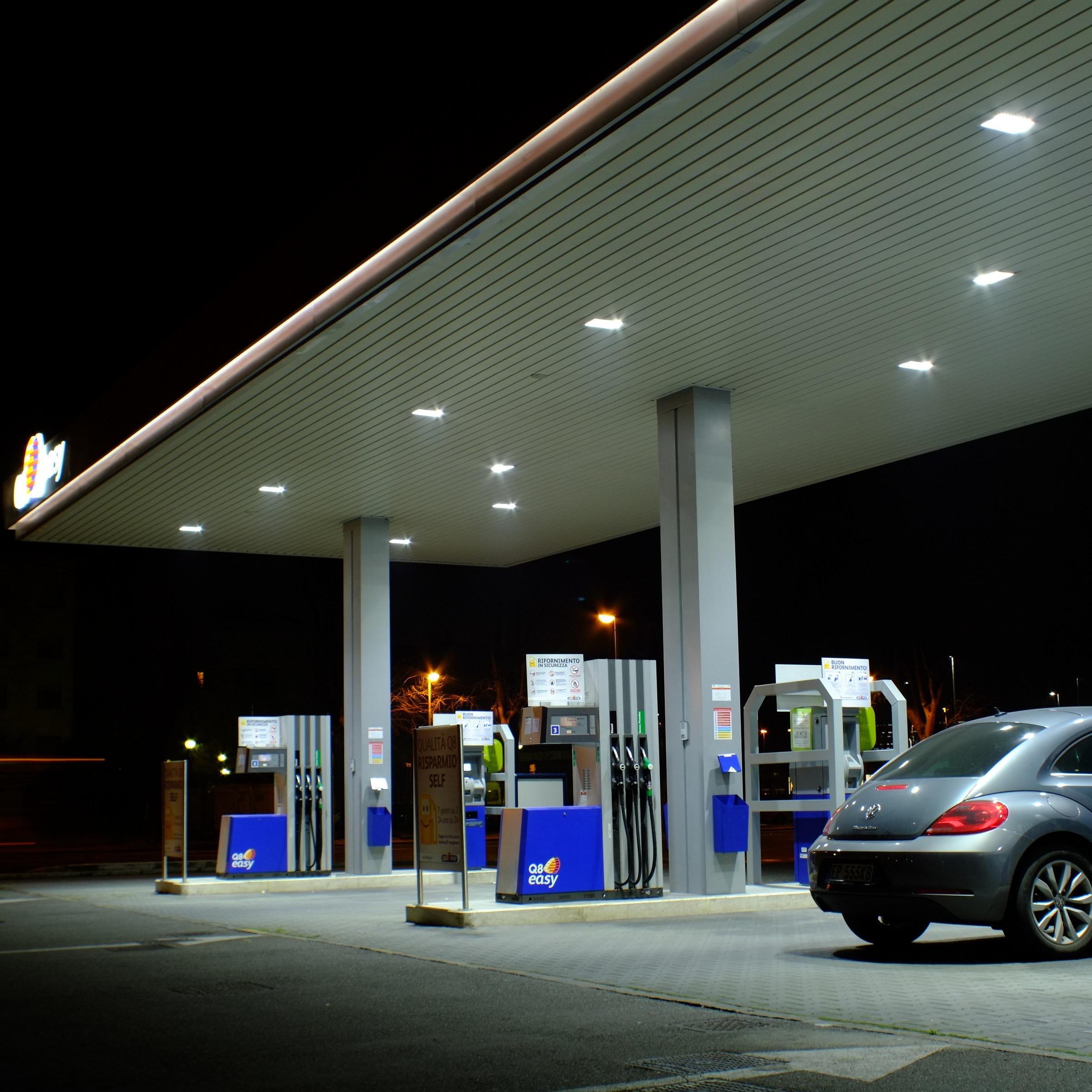 Gas station at night...