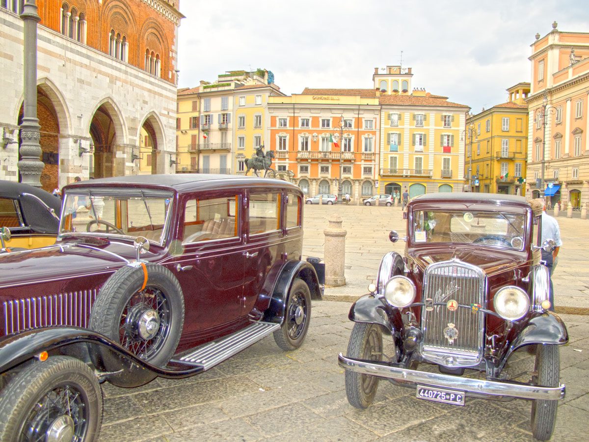 vintage cars square horses...