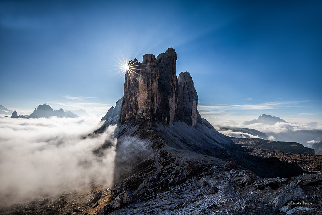 The three peaks of Lavaredo kissed by the sun....