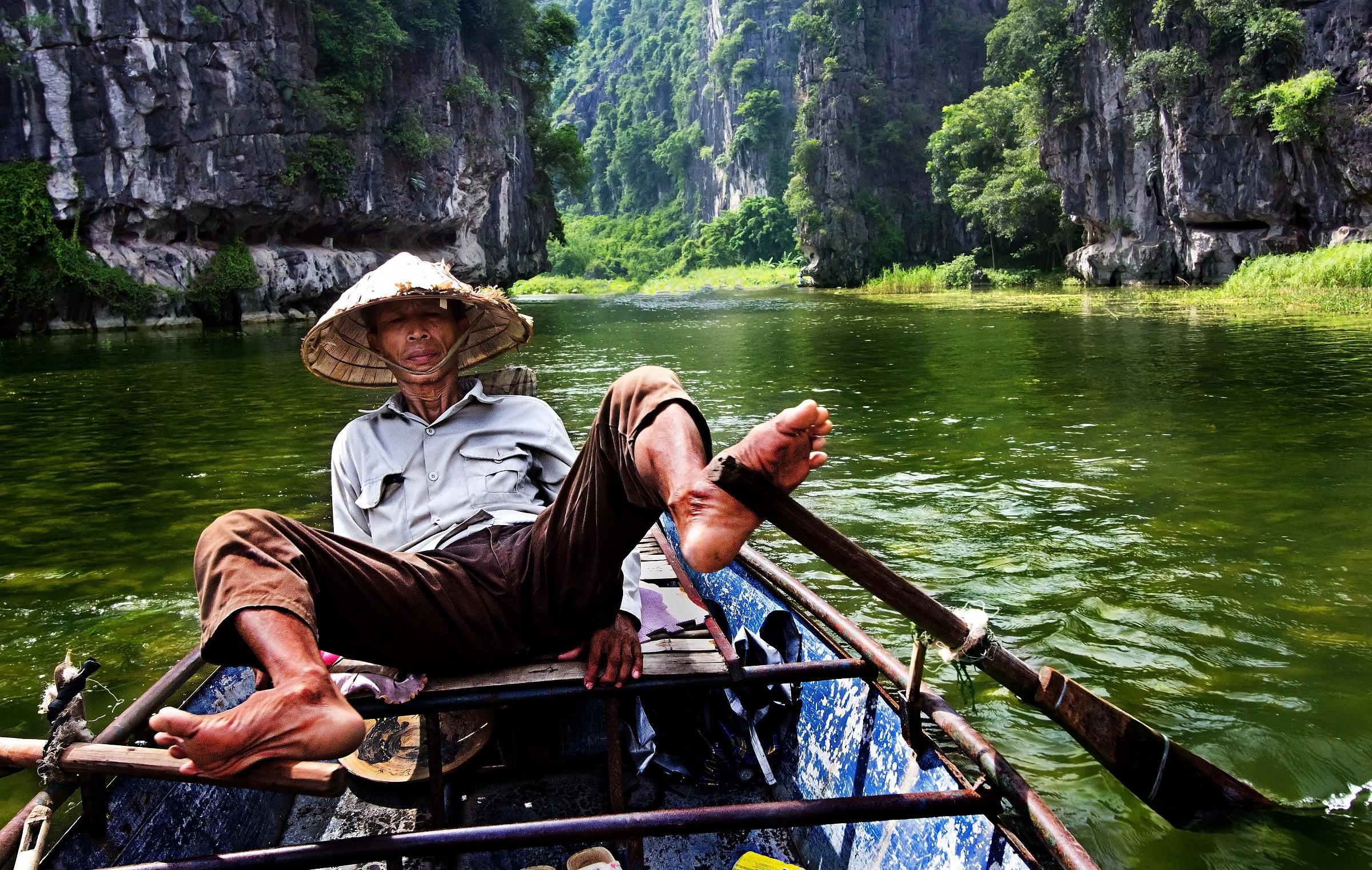 River Tam Coc, Central Vietnam...