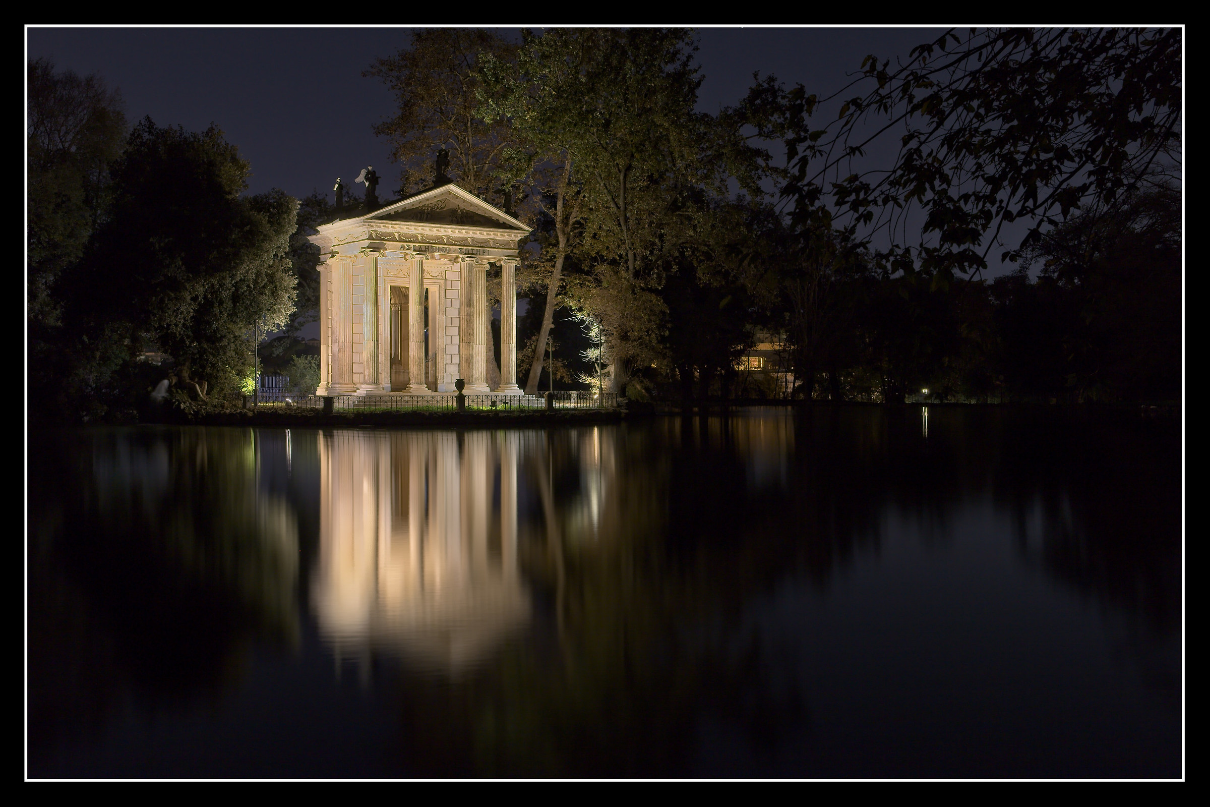 Temple of Aesculapius at Villa Borghese at night...