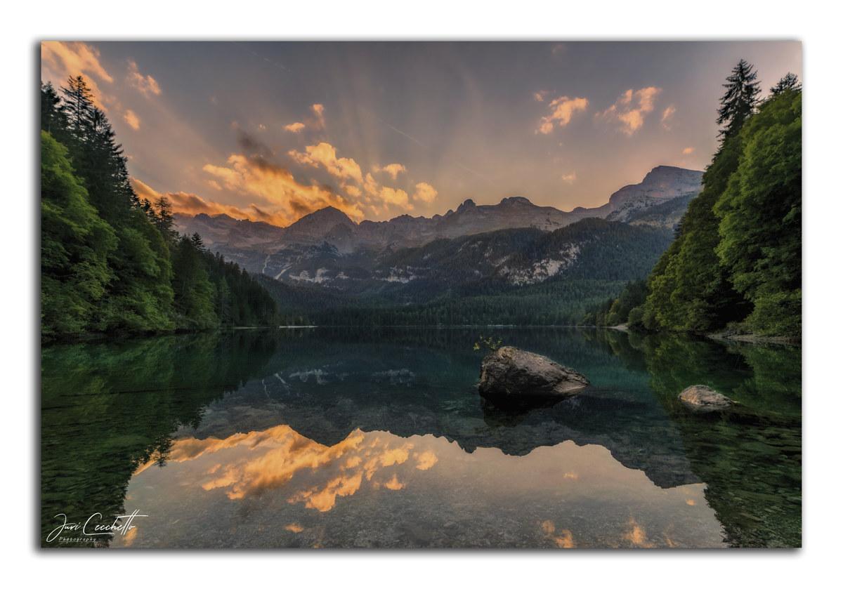 Tovel Lake at sunset ...