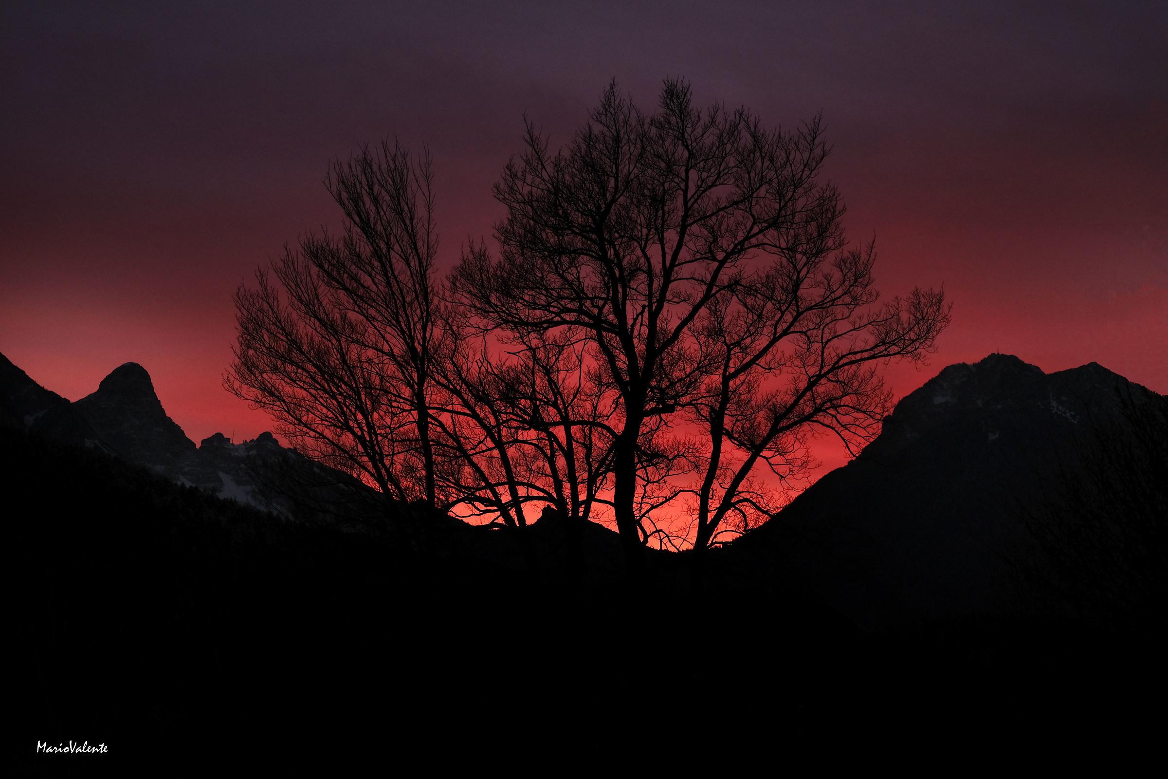 Tramonto invernale sulle Dolomiti...