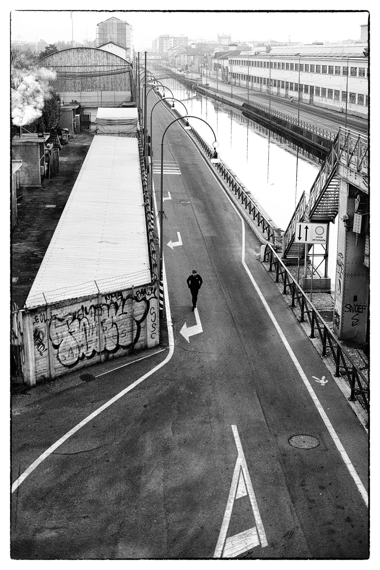 Runner. Milan, January 2019....