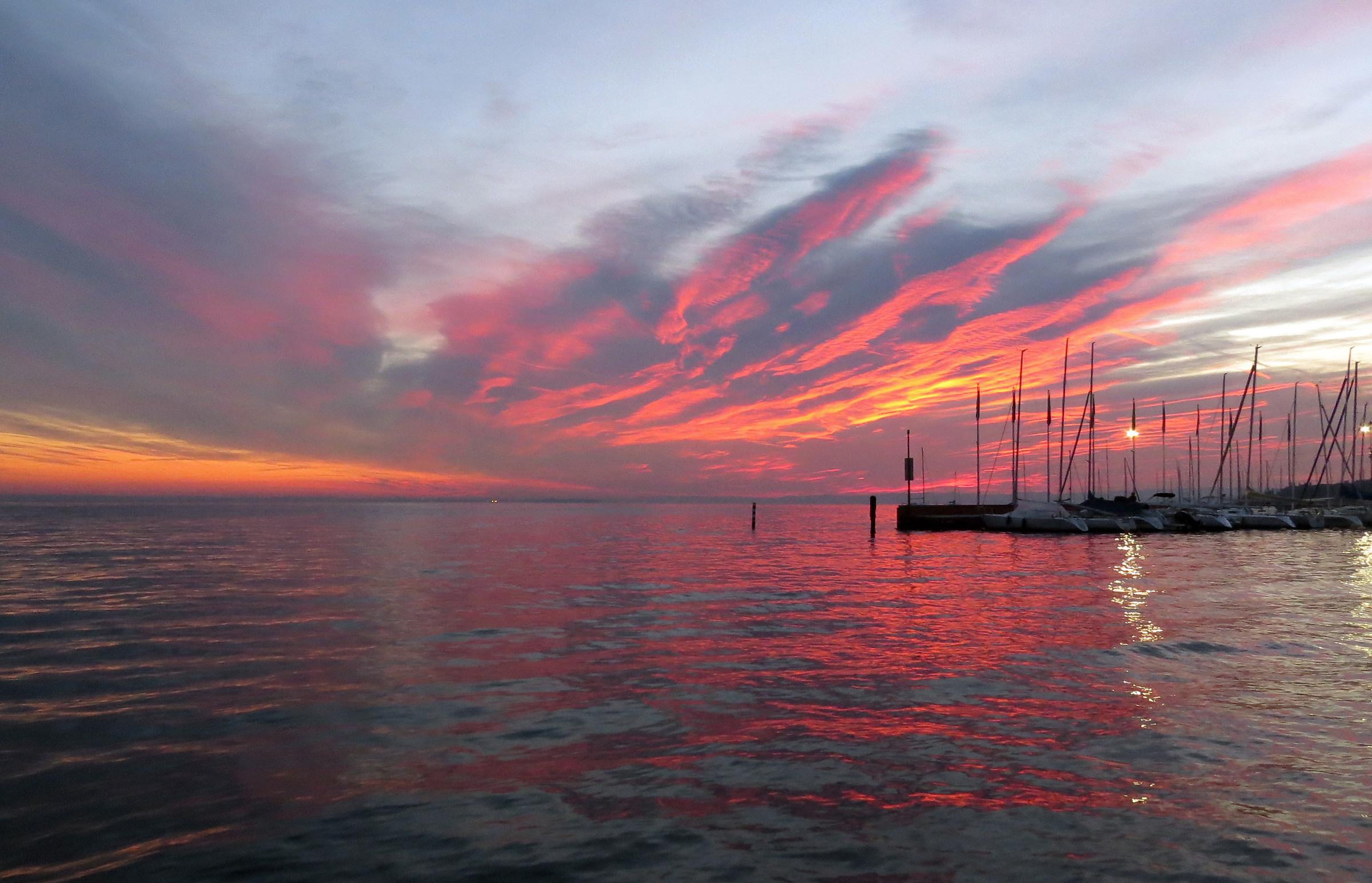 Flaming clouds on Lake Garda...