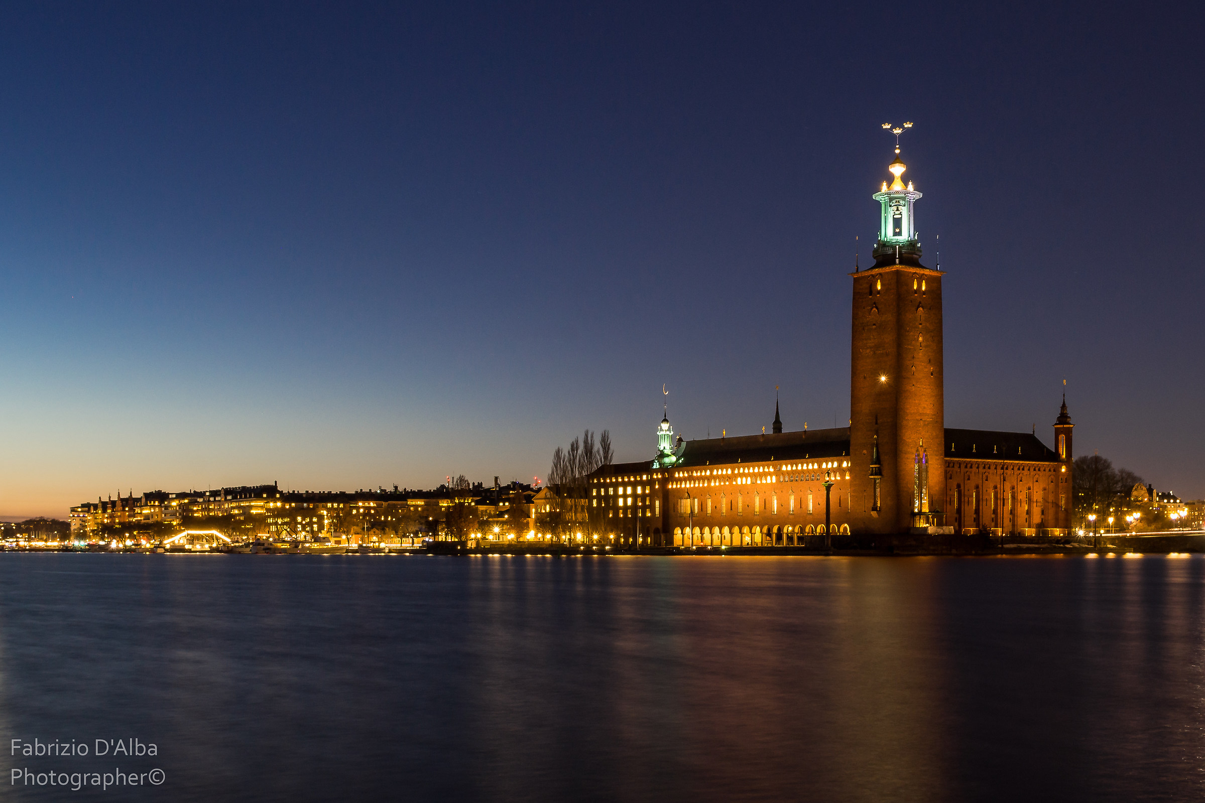 Sunset with a view of Stockholm's romantic town hall...