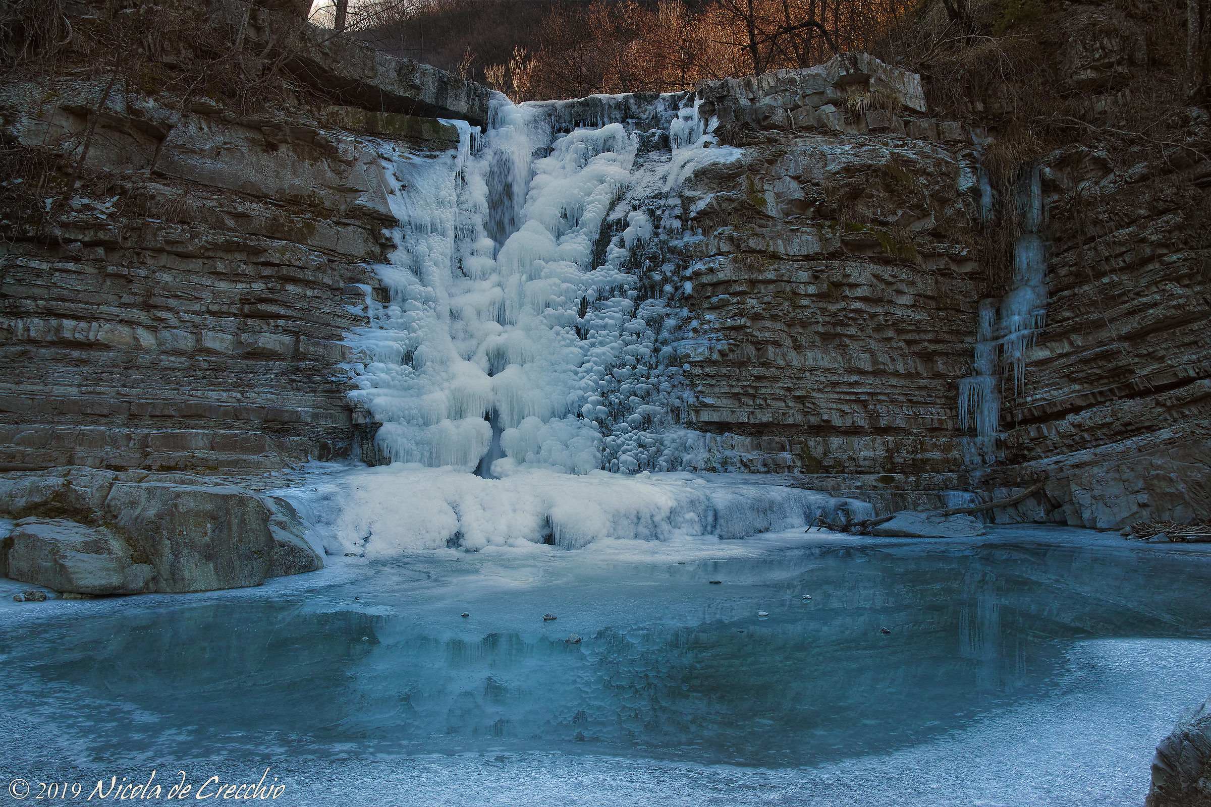 The second glacial waterfall of the Perino...