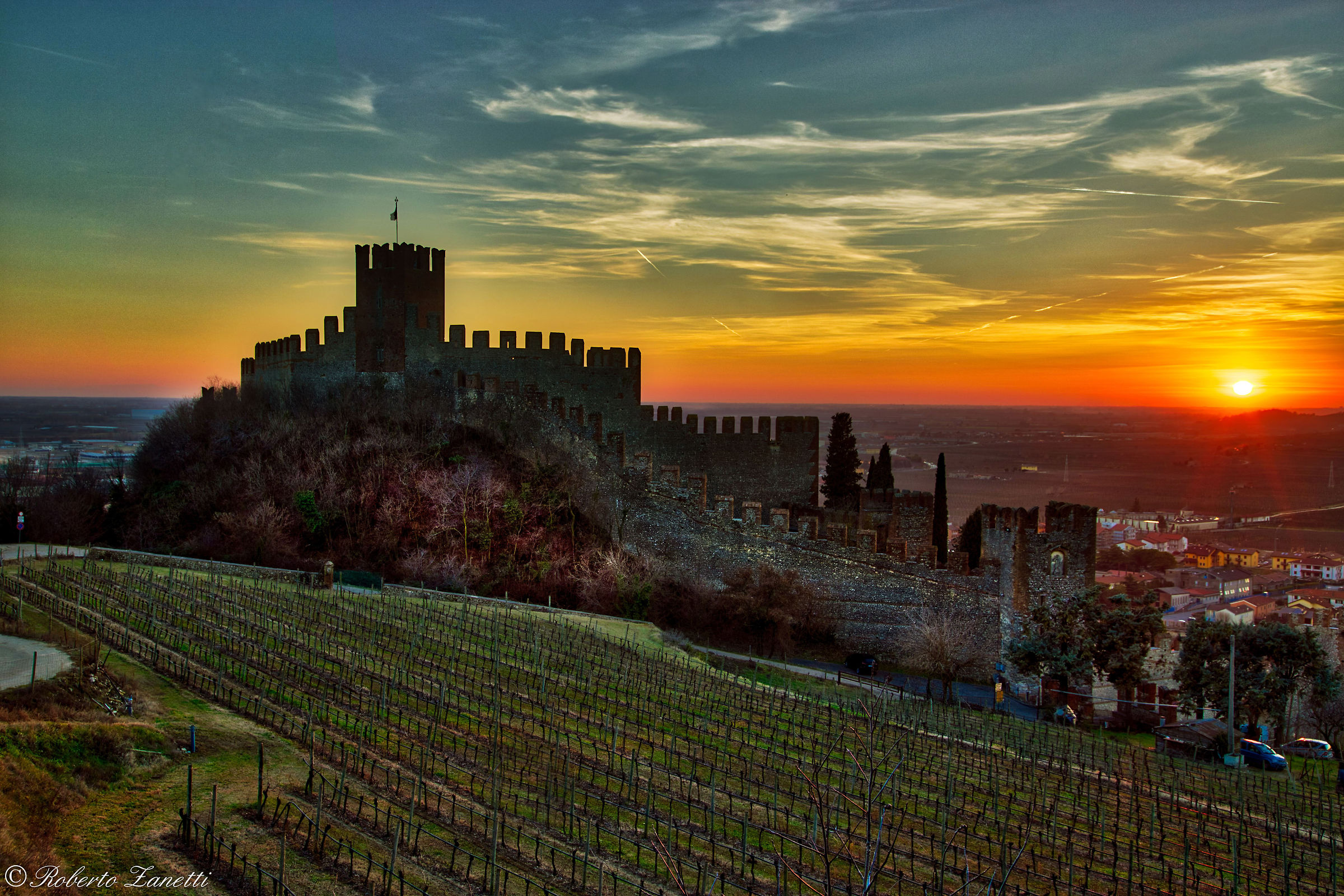 Sunset at the Scaligero Castle of Soave...