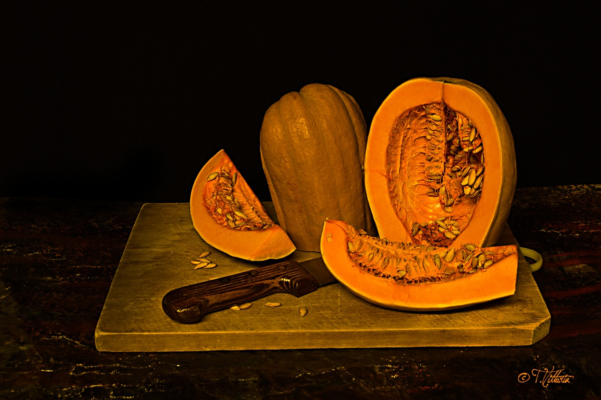 The cutting of the pumpkin...
