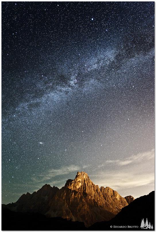 Milky Way above the Cimon della Pala...