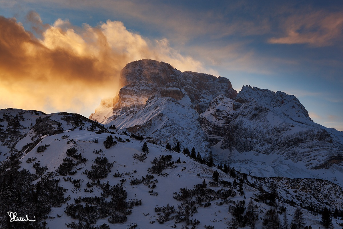 Tramonto invernale sulla Croda Rossa d'Ampezzo...