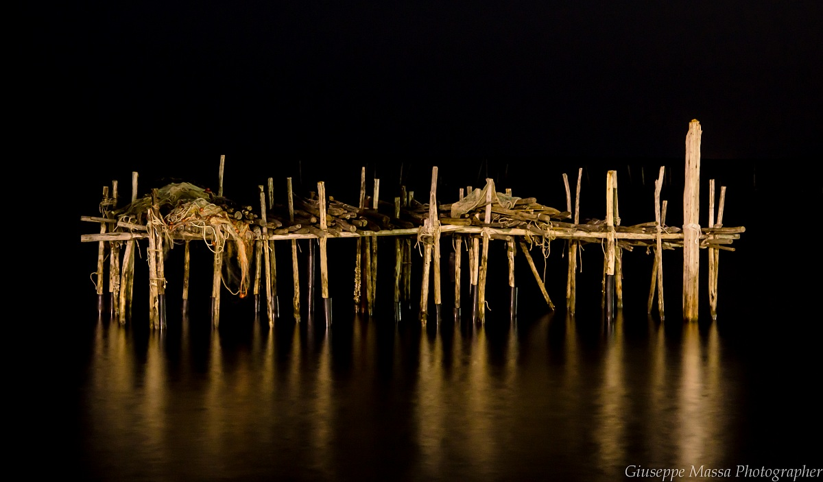 Wooden barrier at night ......