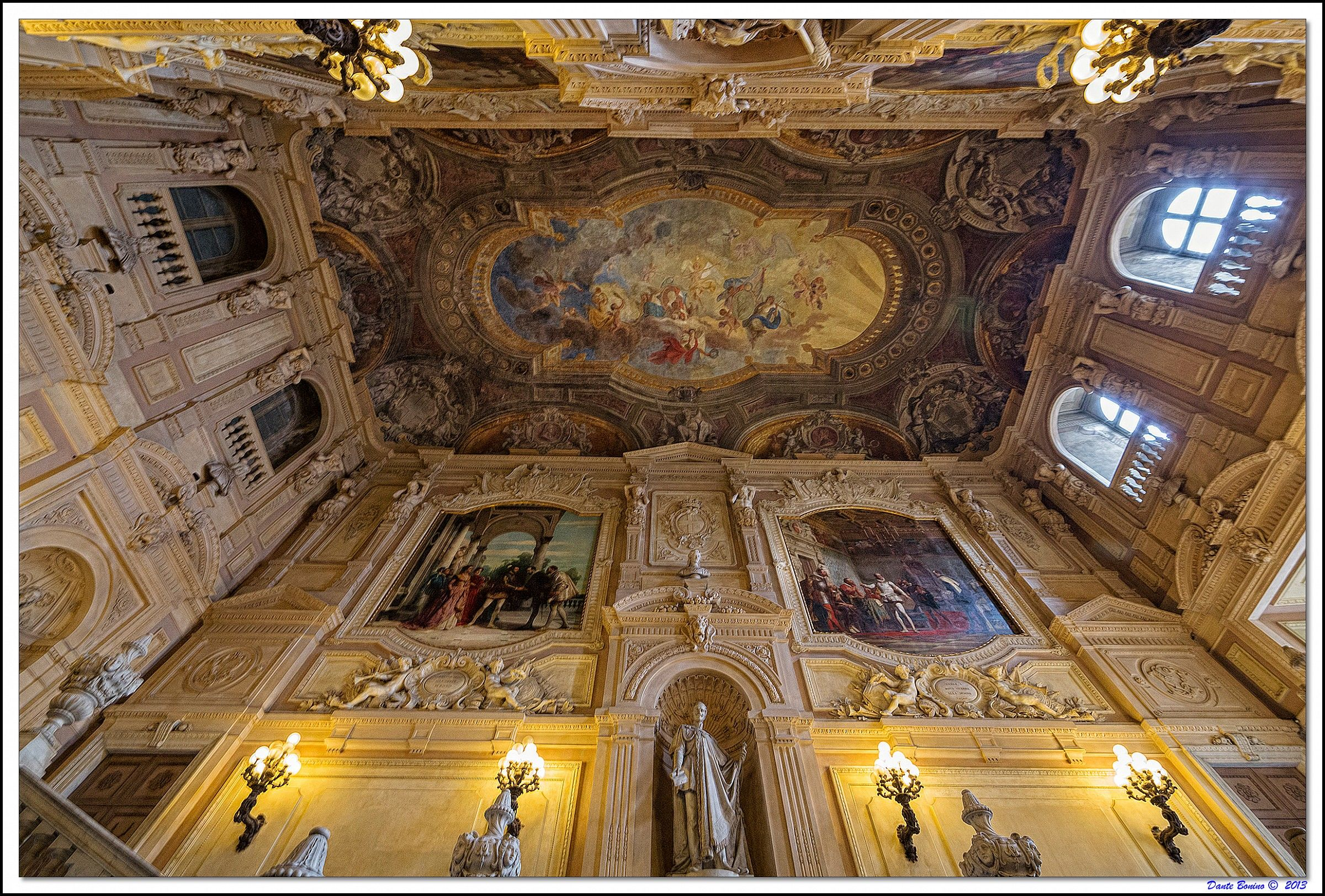 The grand staircase of the Palazzo Reale...