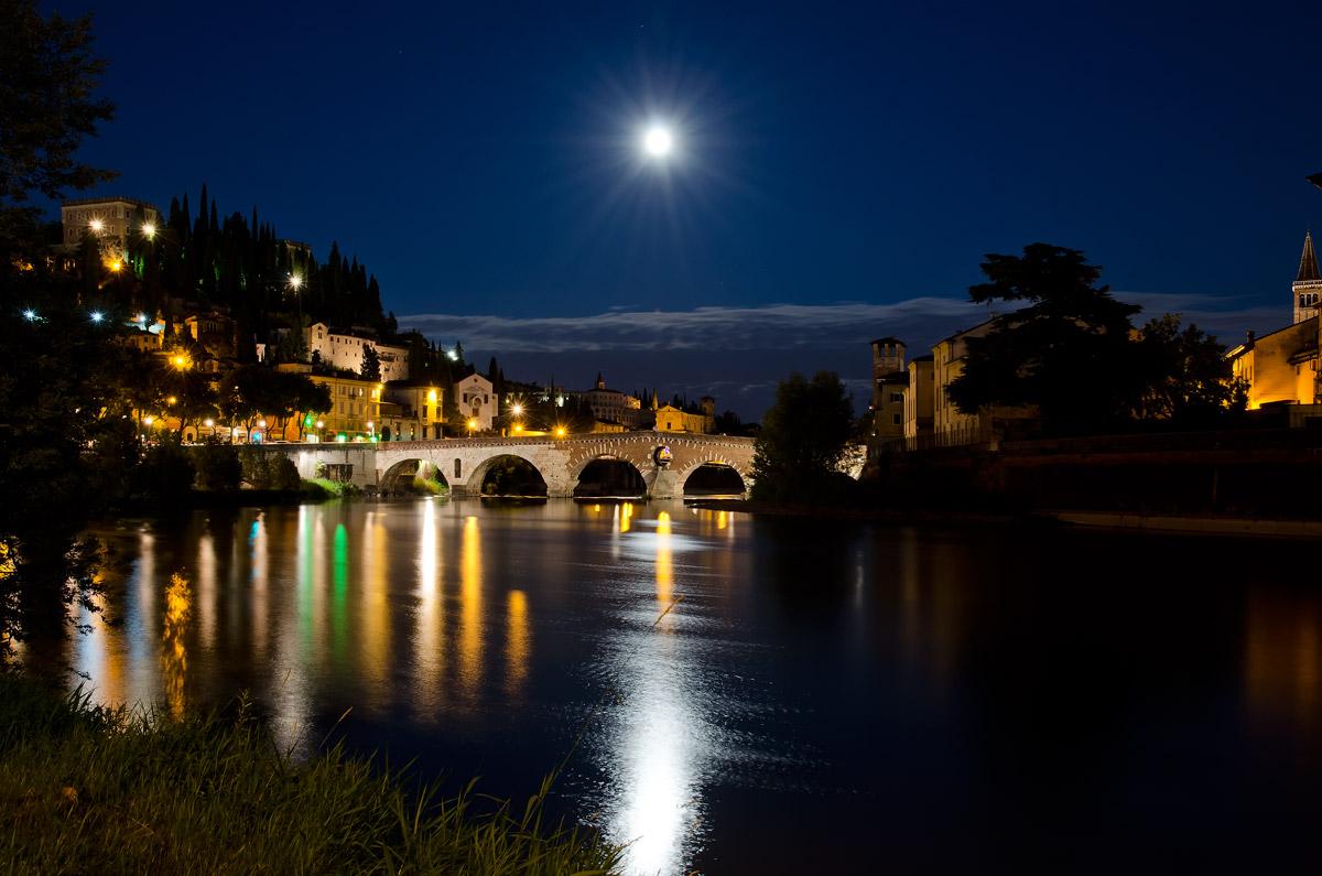 Stone bridge with the moon...