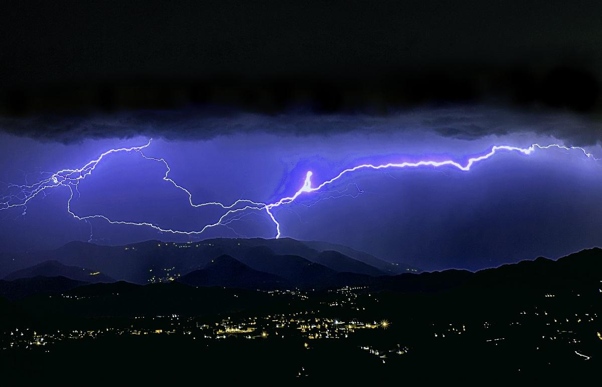 big and powerful lightning strike...