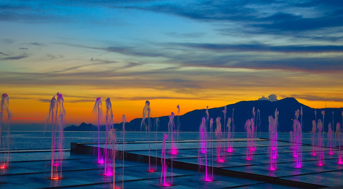 fountains at sunset...